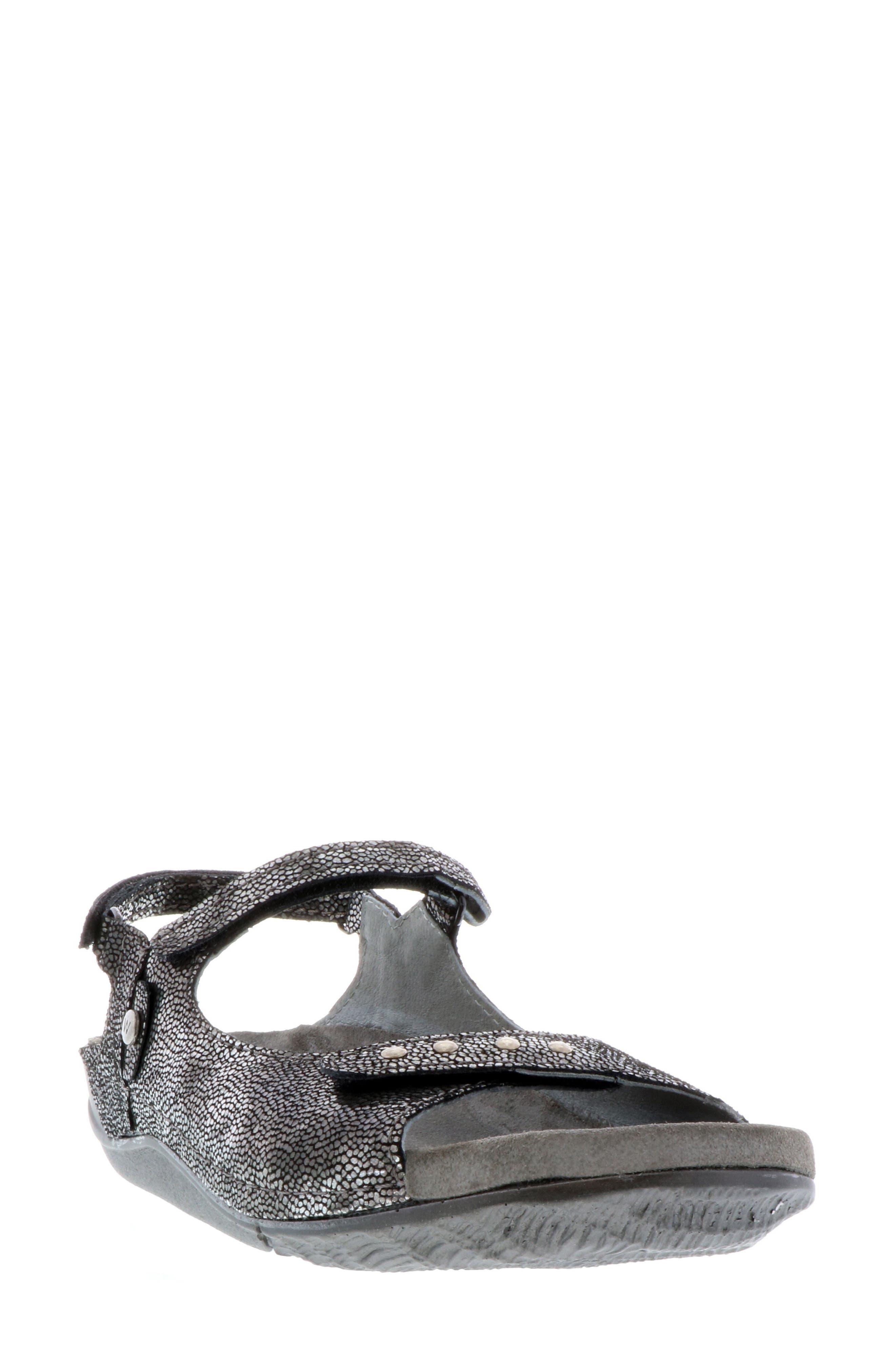Cortez Sandal,                         Main,                         color, BLACK LEATHER
