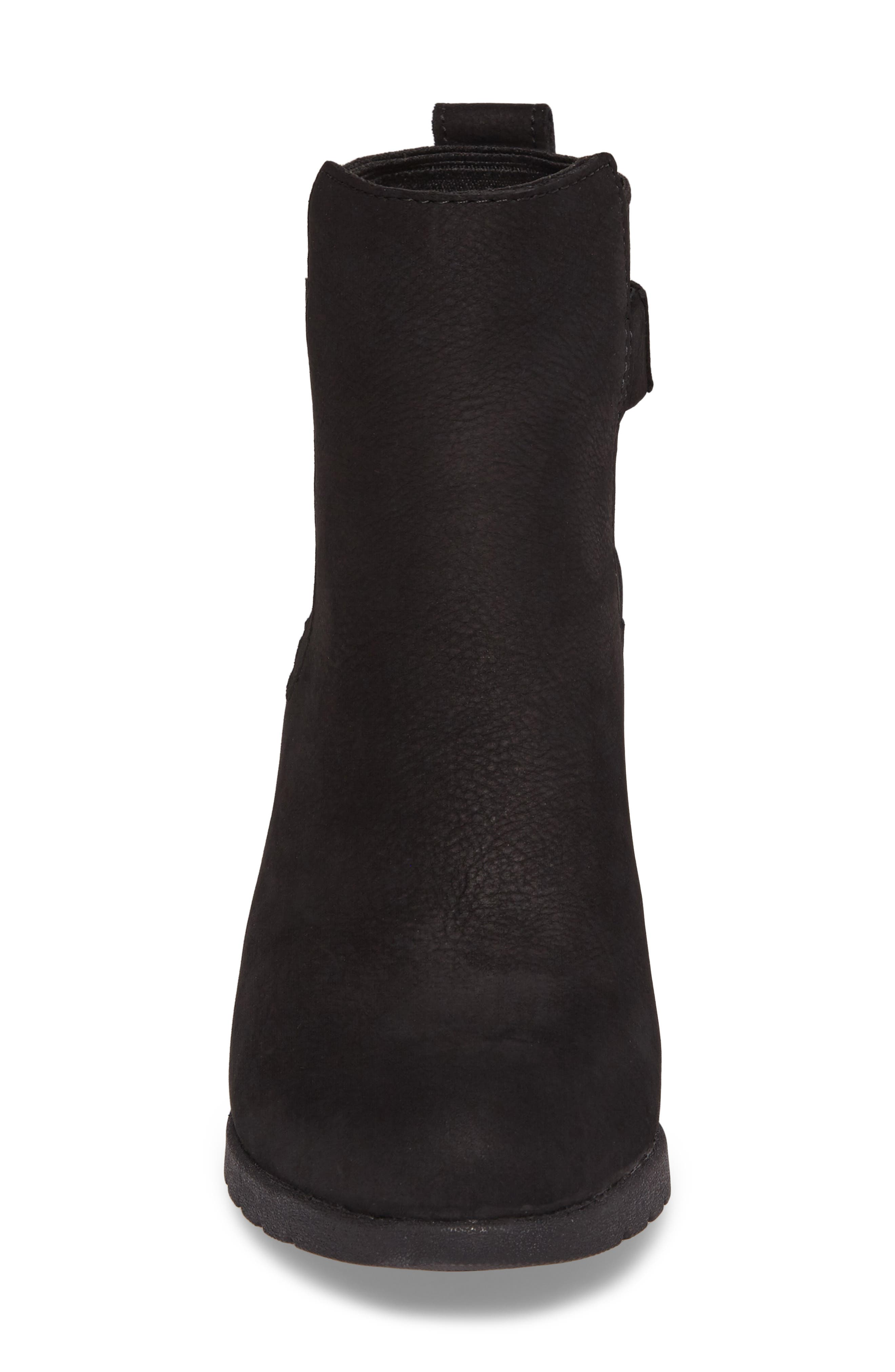 Waterproof Insulated Wedge Boot,                             Alternate thumbnail 4, color,                             BLACK LEATHER