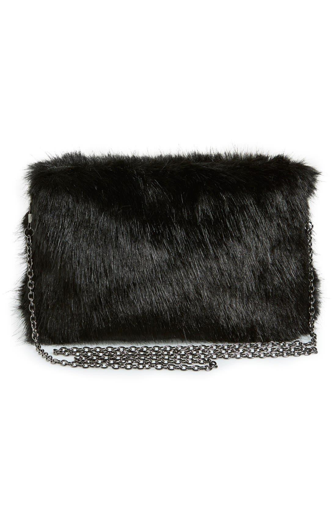 LA DOUBLE 7,                             No Brand Needed Faux Fur Convertible Clutch,                             Alternate thumbnail 5, color,                             001