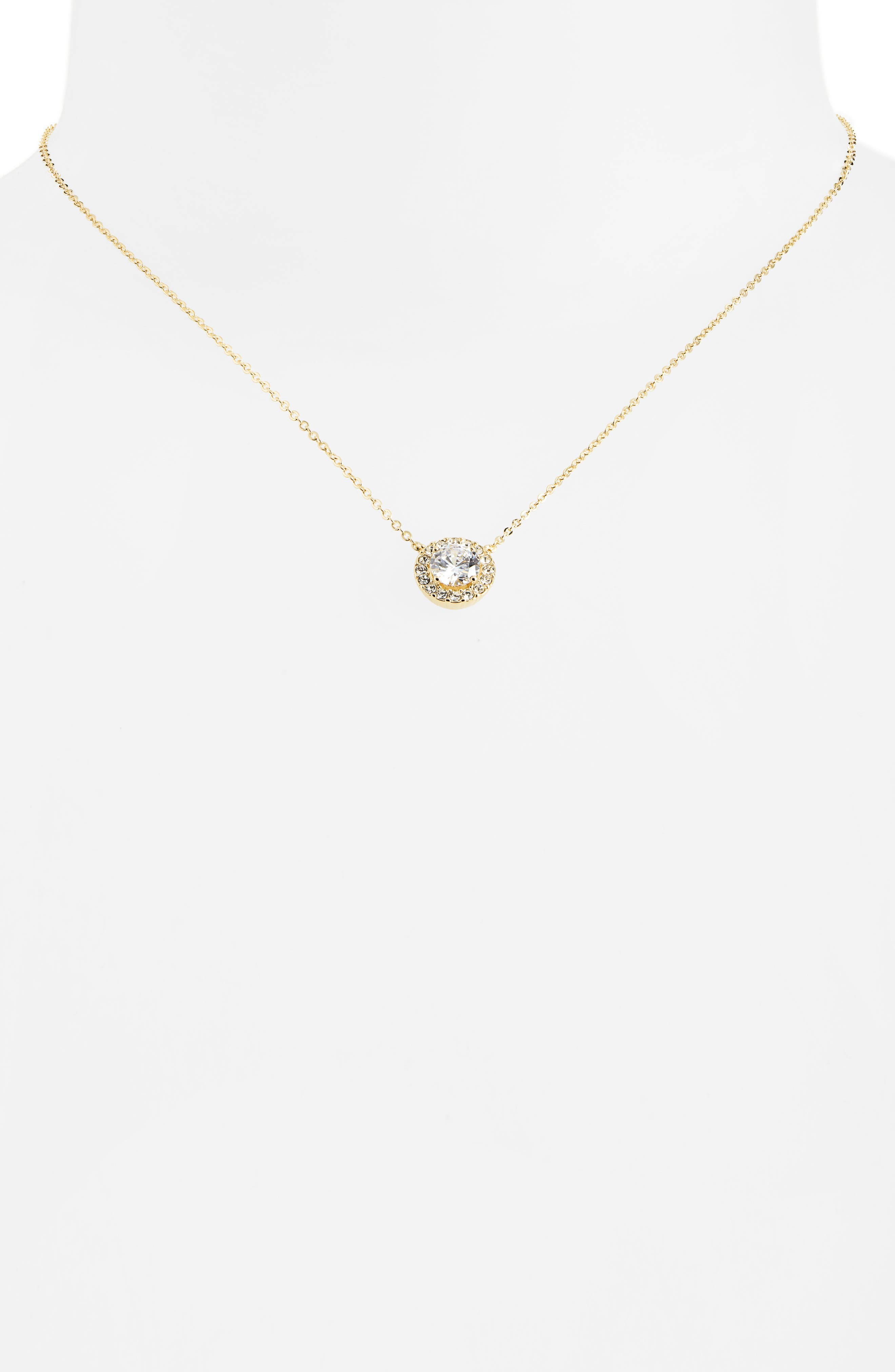 NORDSTROM,                             Cubic Zirconia Pendant Necklace,                             Alternate thumbnail 2, color,                             CLEAR- GOLD