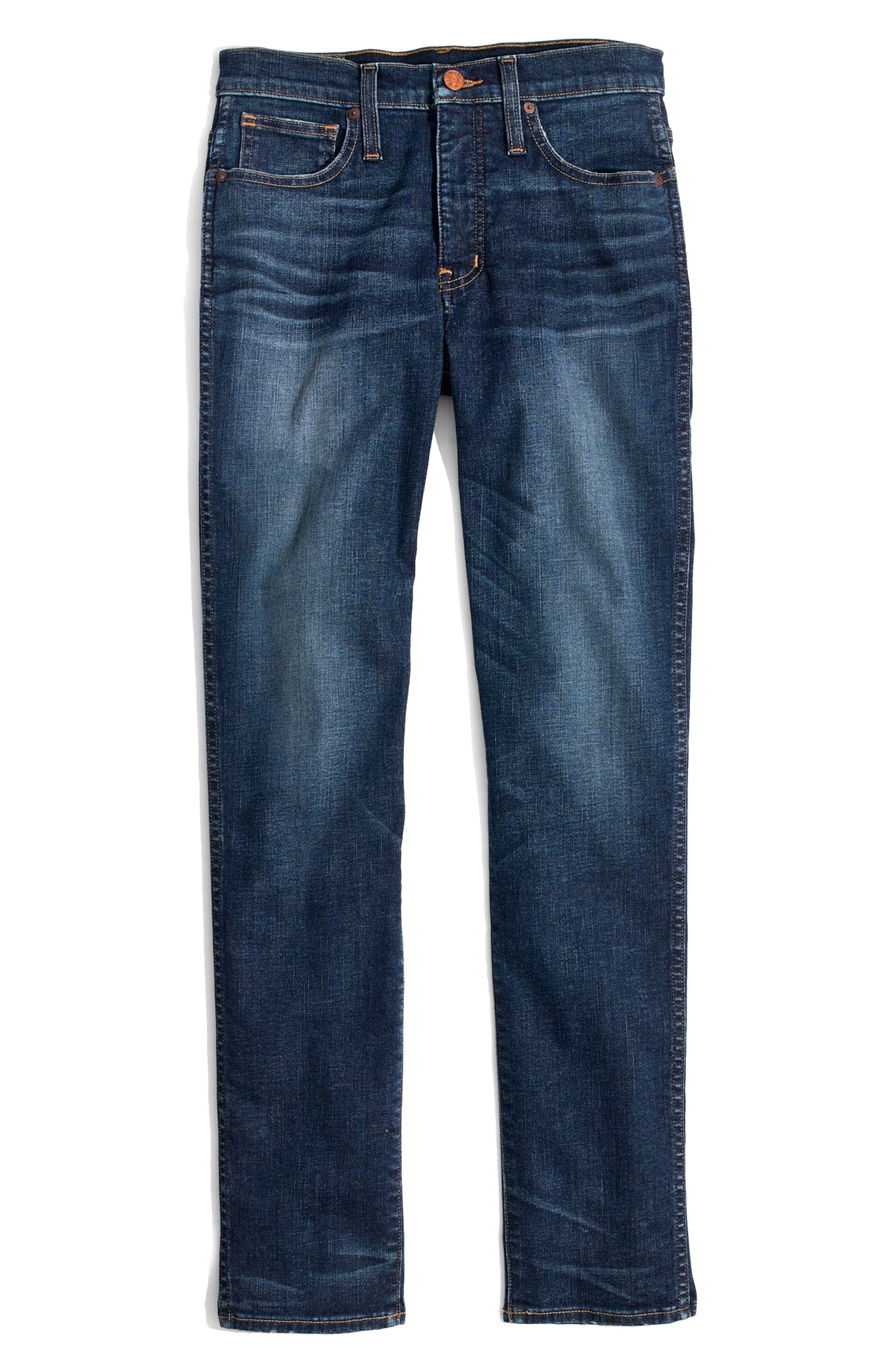 High Waist Slim Straight Leg Jeans,                             Alternate thumbnail 3, color,                             400