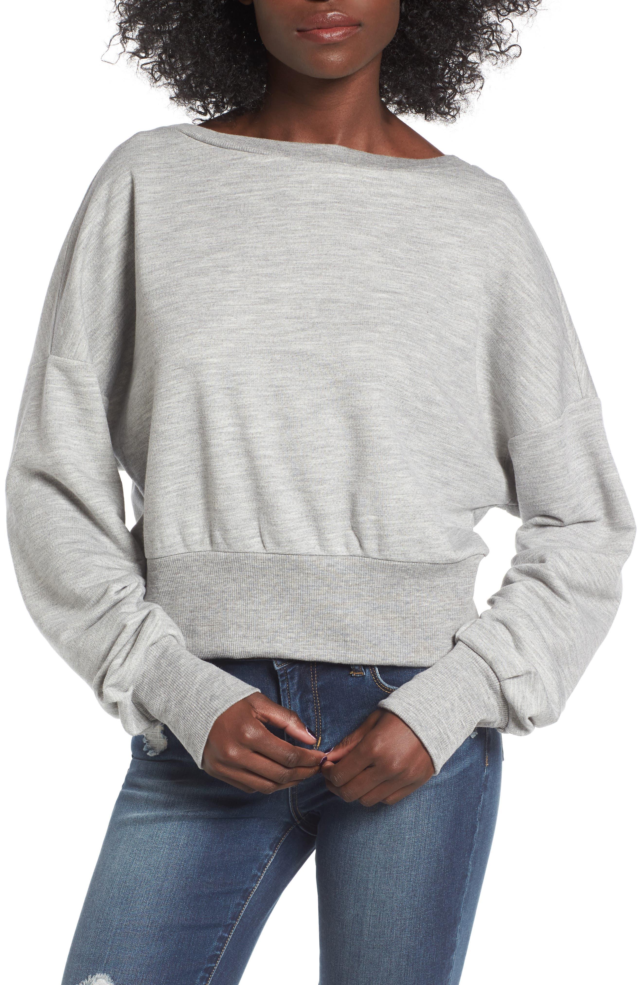 Ruched Sleeve Sweatshirt,                             Main thumbnail 3, color,