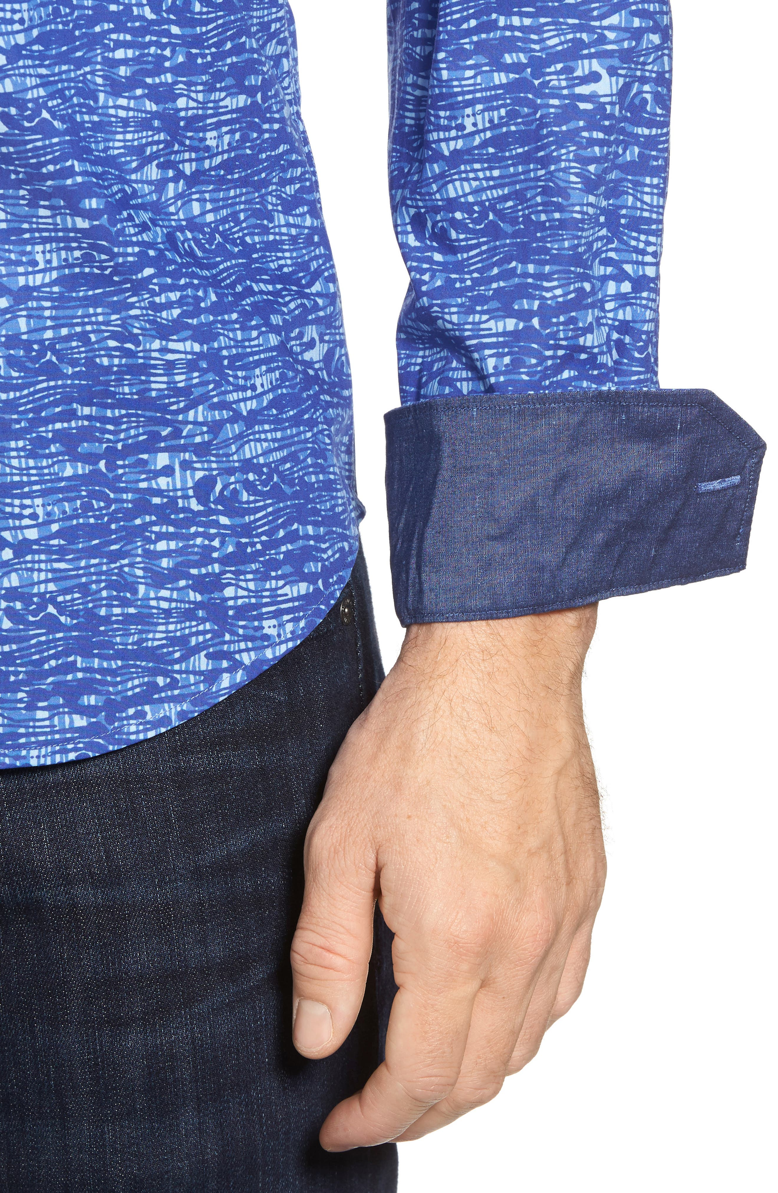 Shaped Fit Print Sport Shirt,                             Alternate thumbnail 4, color,                             411