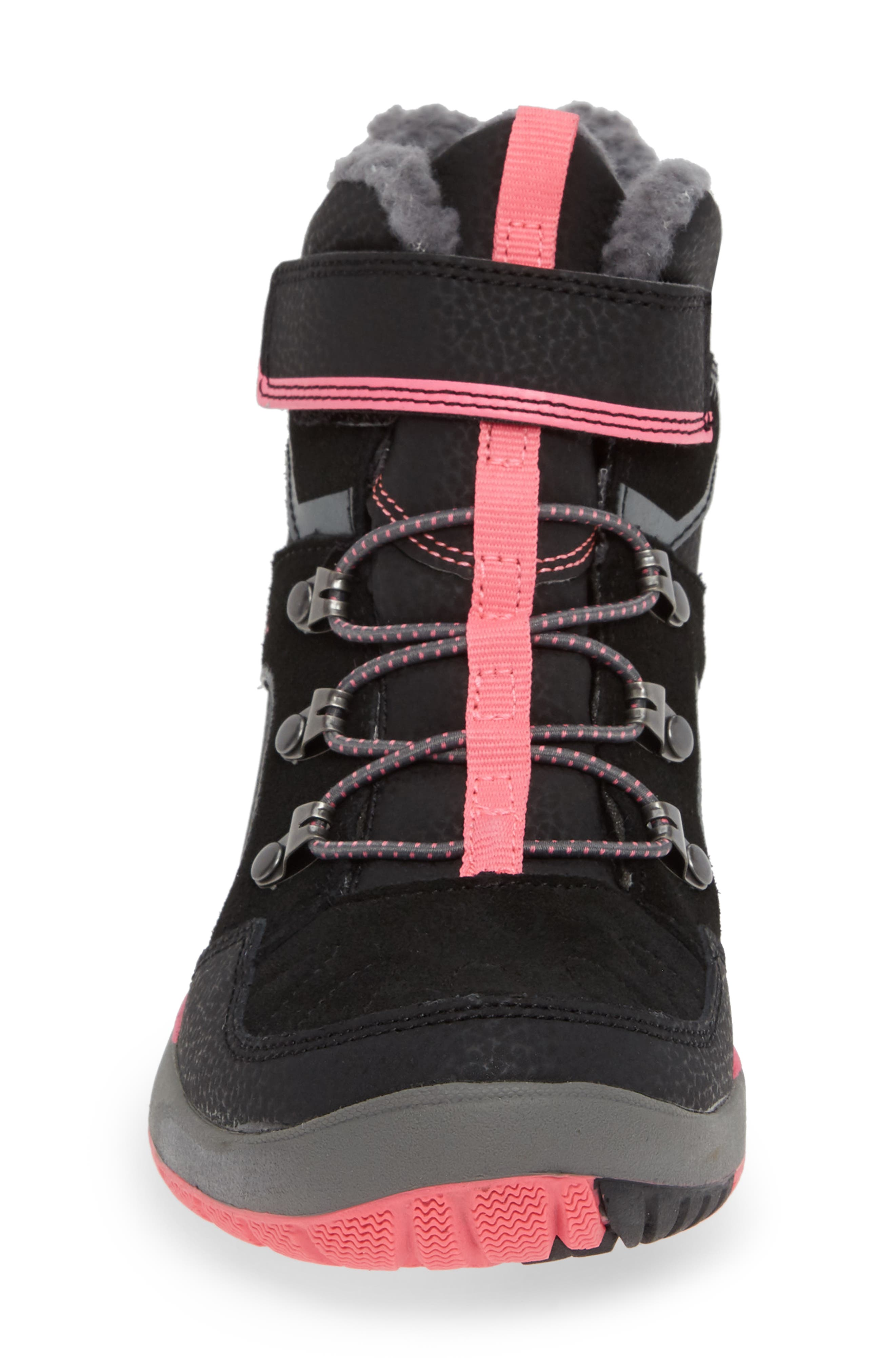 Moab FST Polar Mid Waterproof Insulated Sneaker Boot,                             Alternate thumbnail 4, color,                             BLACK/ PINK
