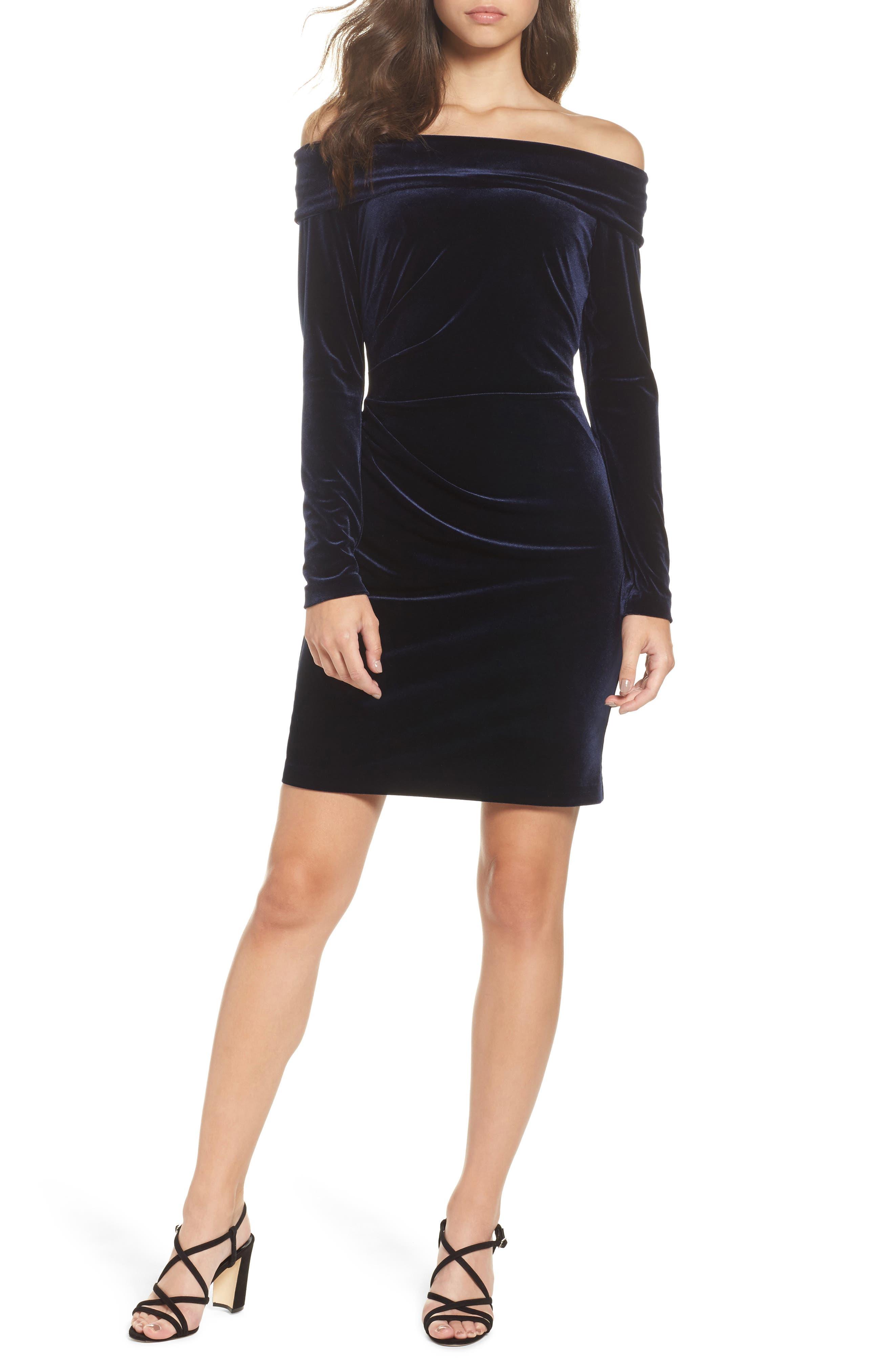 Off the Shoulder Velvet Sheath Dress,                         Main,                         color, NAVY
