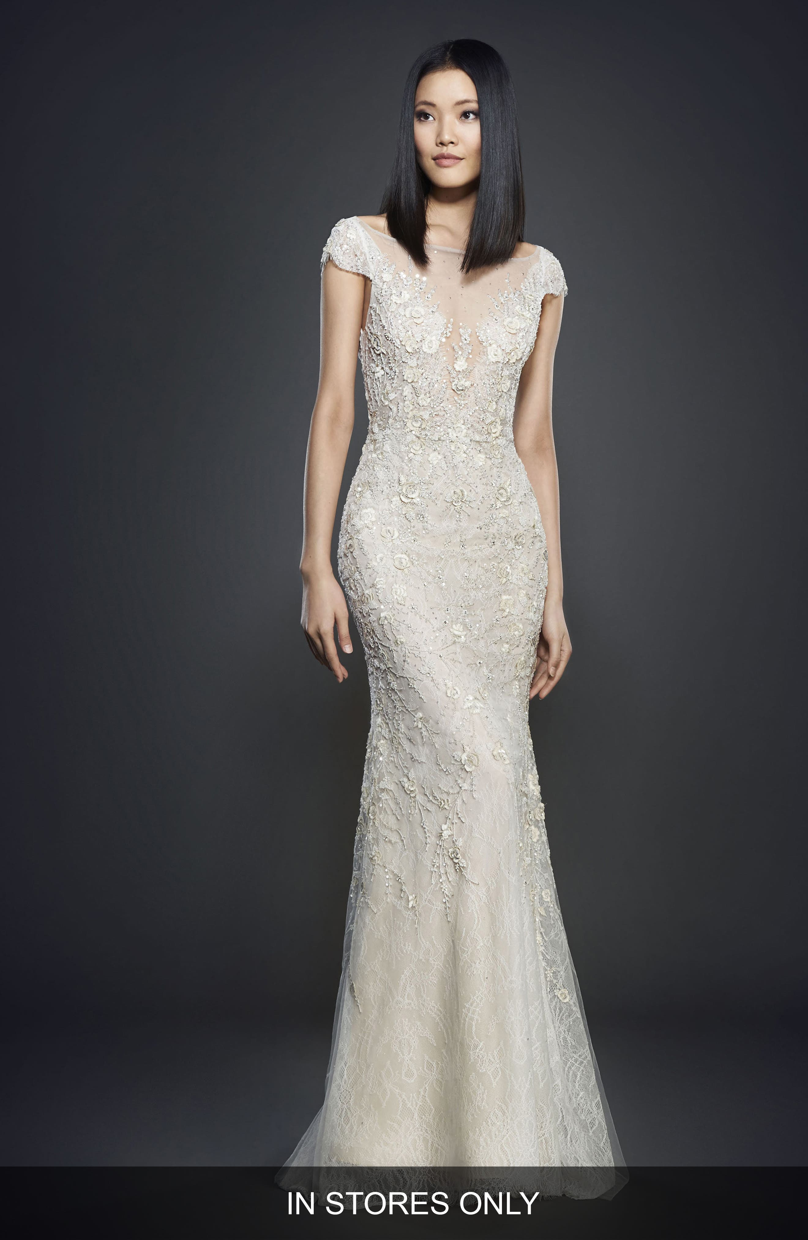 Embellished Lace Cap Sleeve Gown,                             Main thumbnail 1, color,                             900