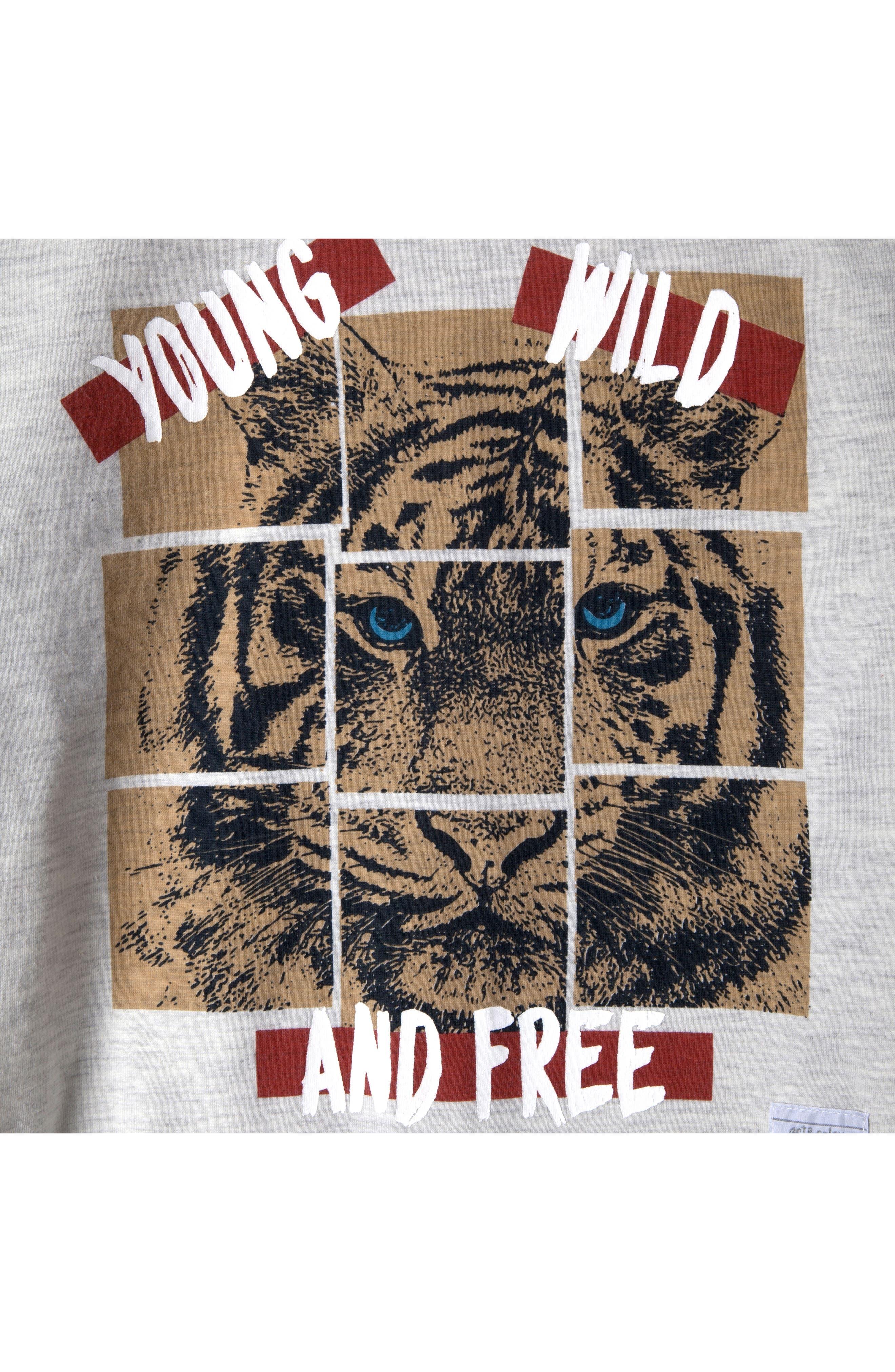 Mini Roar Organic Cotton Raglan T-Shirt,                             Alternate thumbnail 3, color,                             053