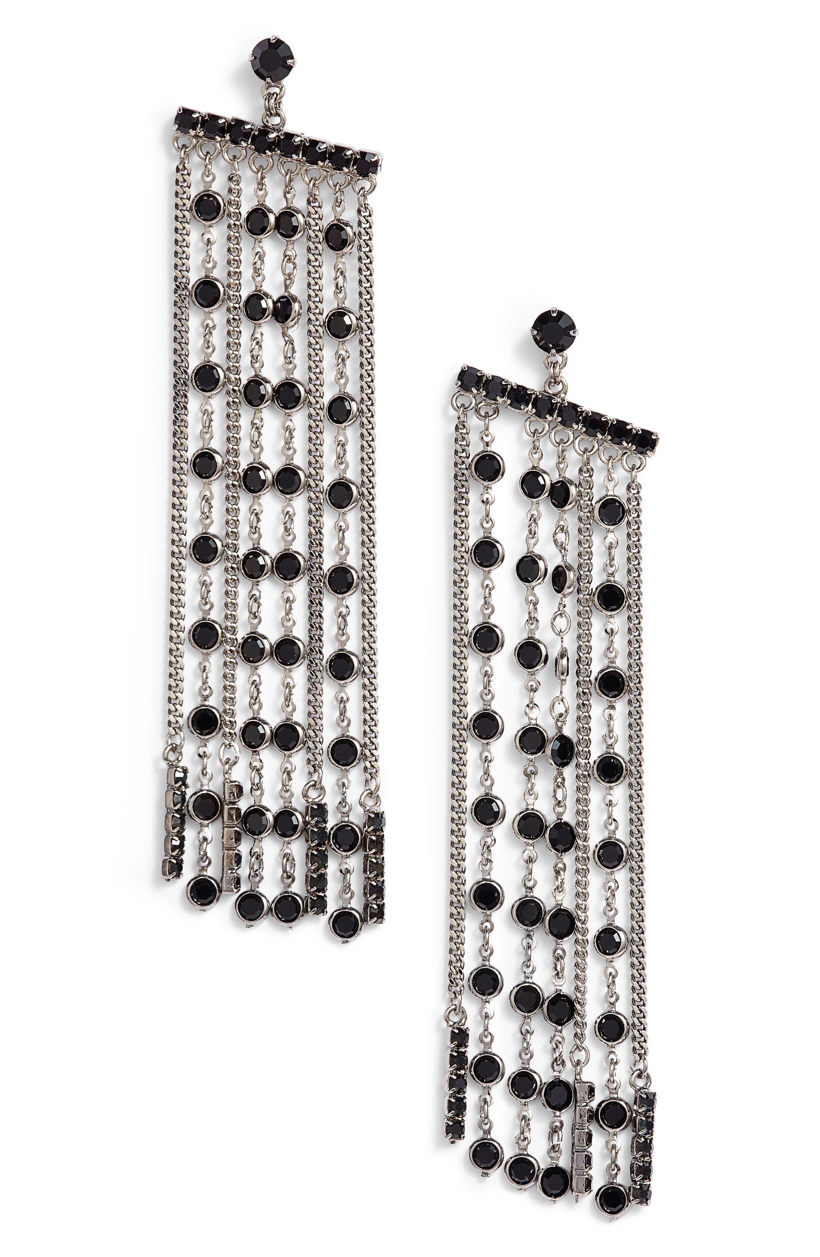Crystal Fringe Earrings,                             Main thumbnail 1, color,