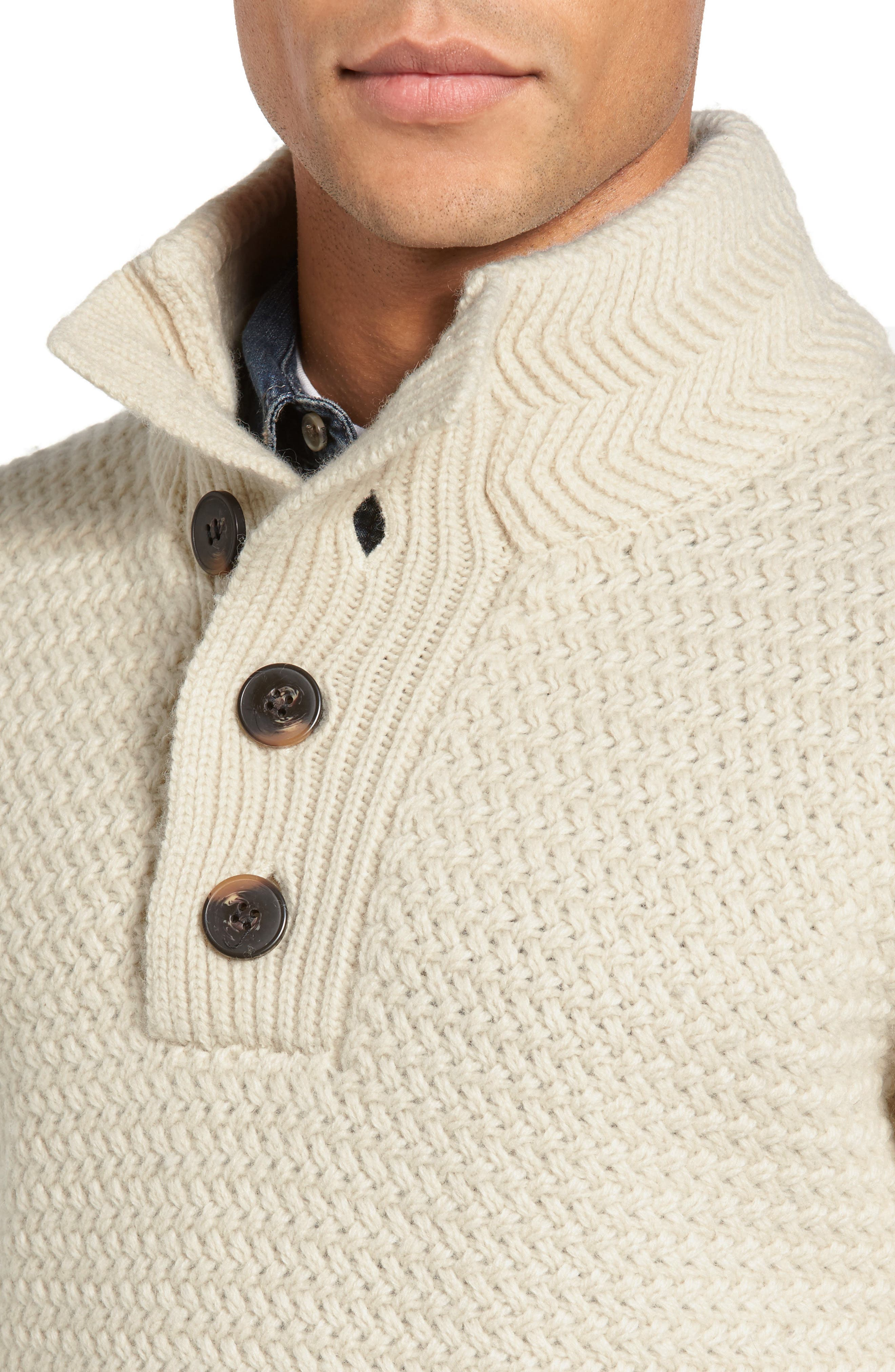 Military Henley Sweater,                             Alternate thumbnail 4, color,                             OFF WHITE