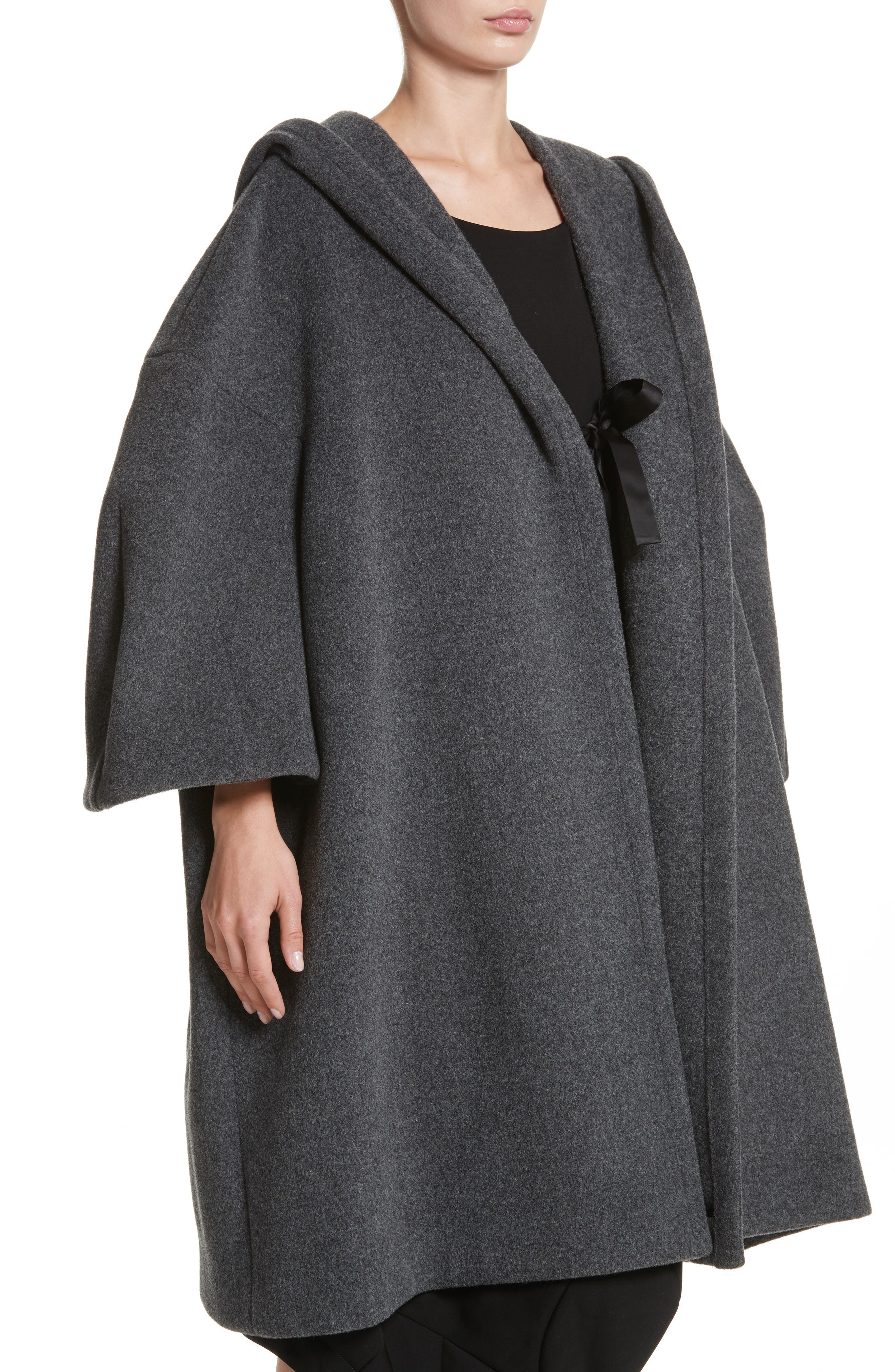 Long Hooded Wool Blend Coat,                             Alternate thumbnail 4, color,                             020