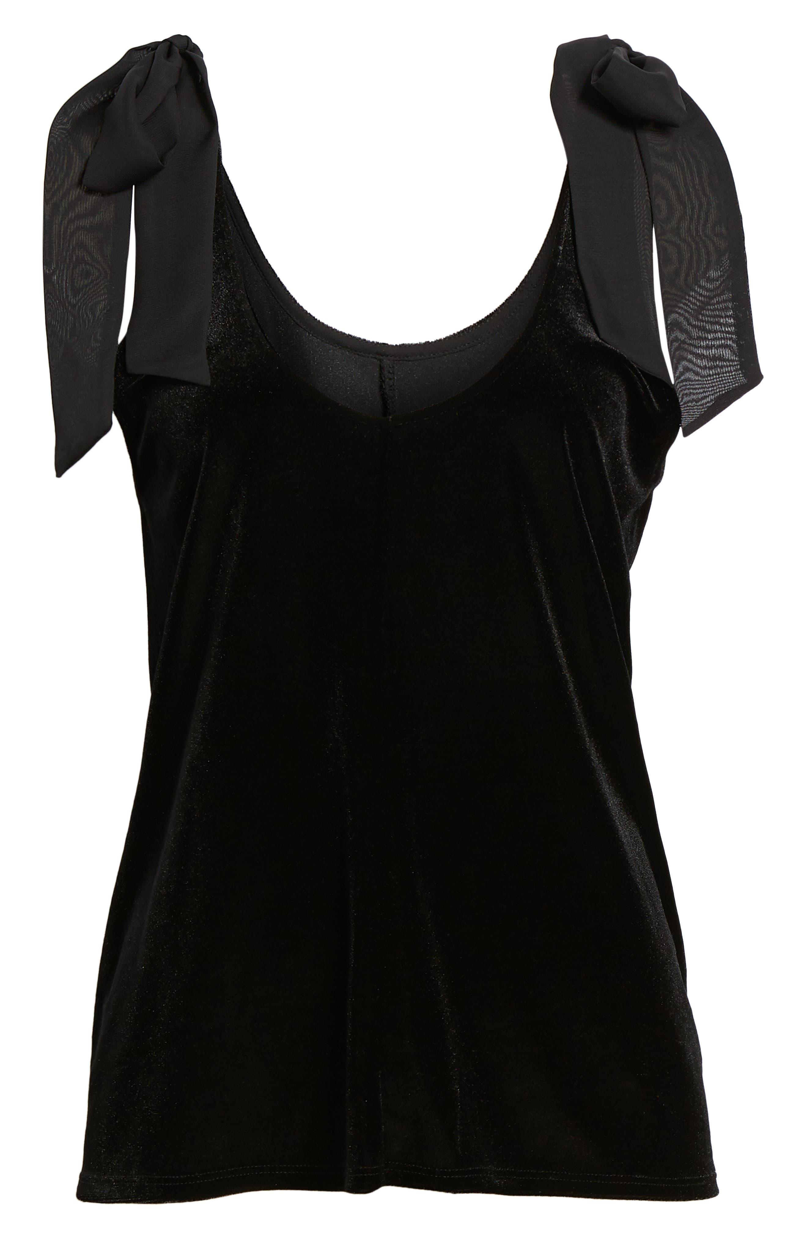 x Glam Squad Tara Bow Detail Velvet Top,                             Alternate thumbnail 7, color,                             BLACK