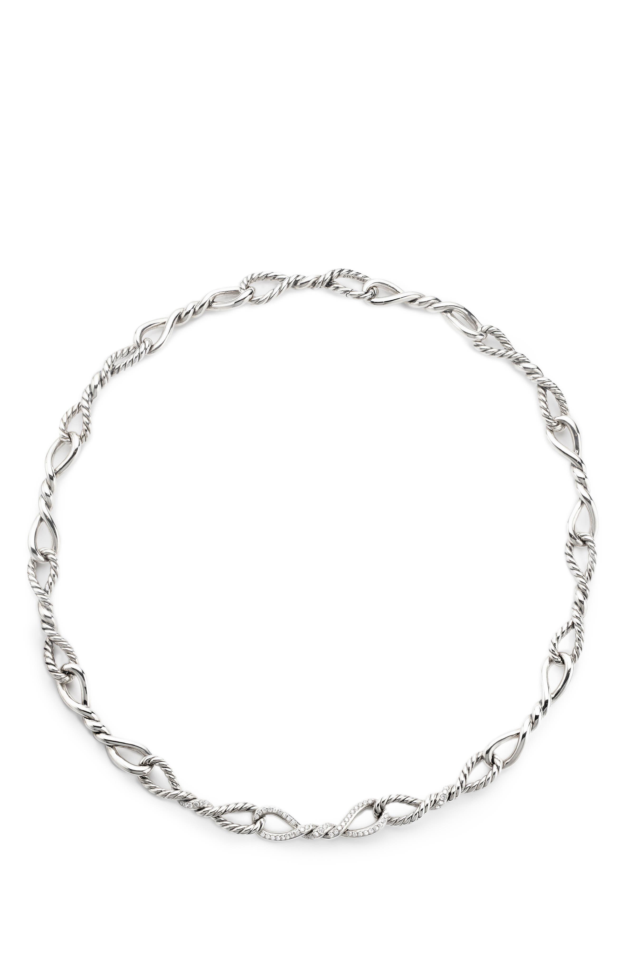 Continuance Short Linked Necklace with Diamonds,                             Main thumbnail 1, color,                             SILVER/ DIAMOND