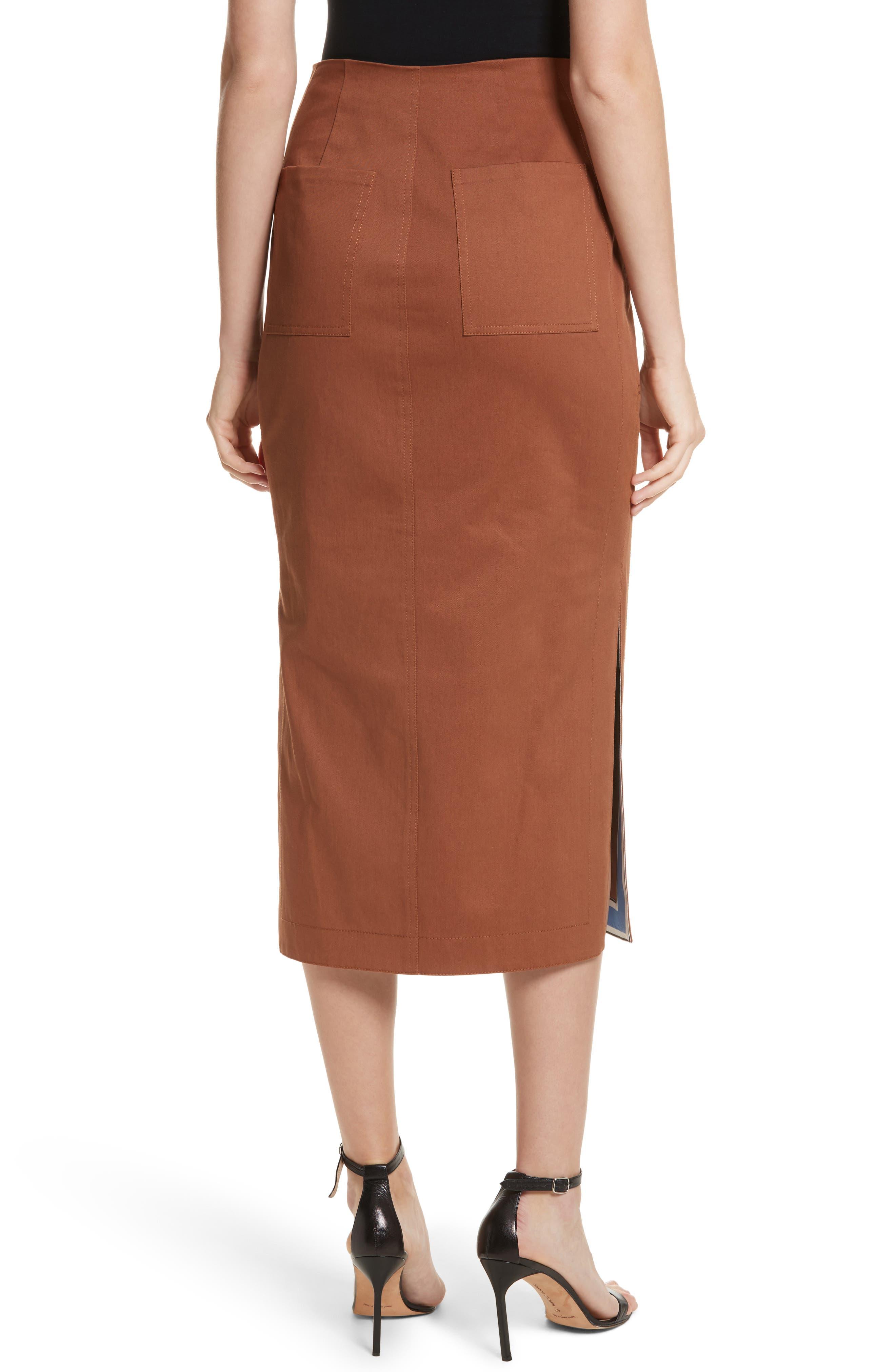 Diane von Furstenberg Midi Twill Pencil Skirt,                             Alternate thumbnail 2, color,                             203