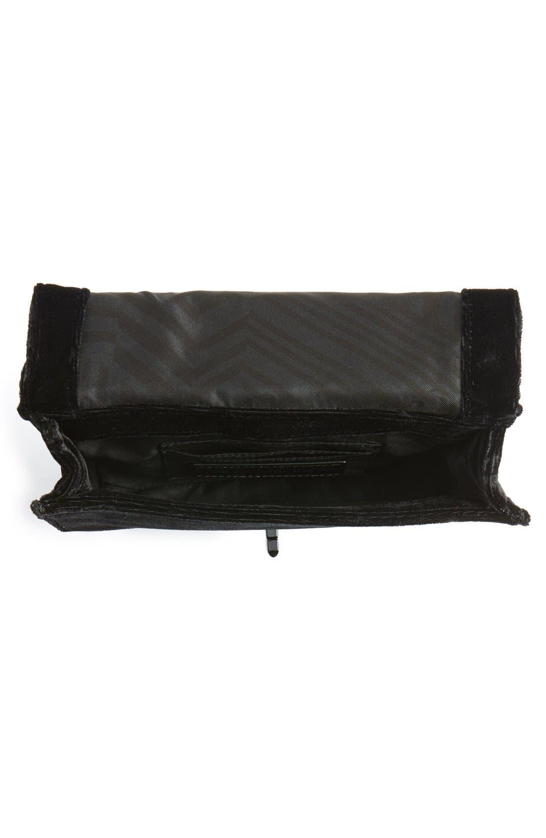 Small Love Quilted Velvet Crossbody Bag,                             Alternate thumbnail 7, color,                             001