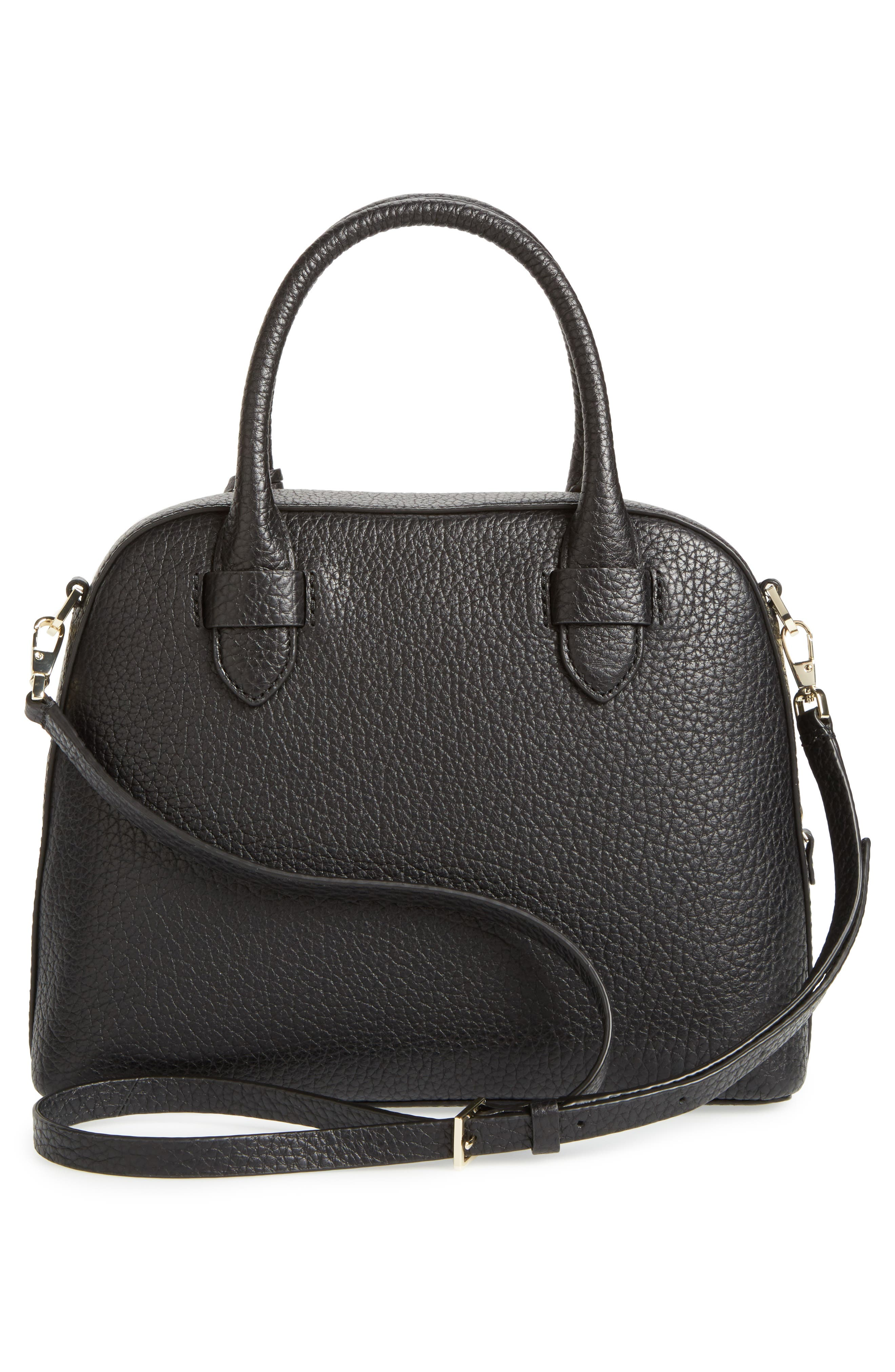 carter street - small ashleigh leather satchel,                             Alternate thumbnail 3, color,                             001