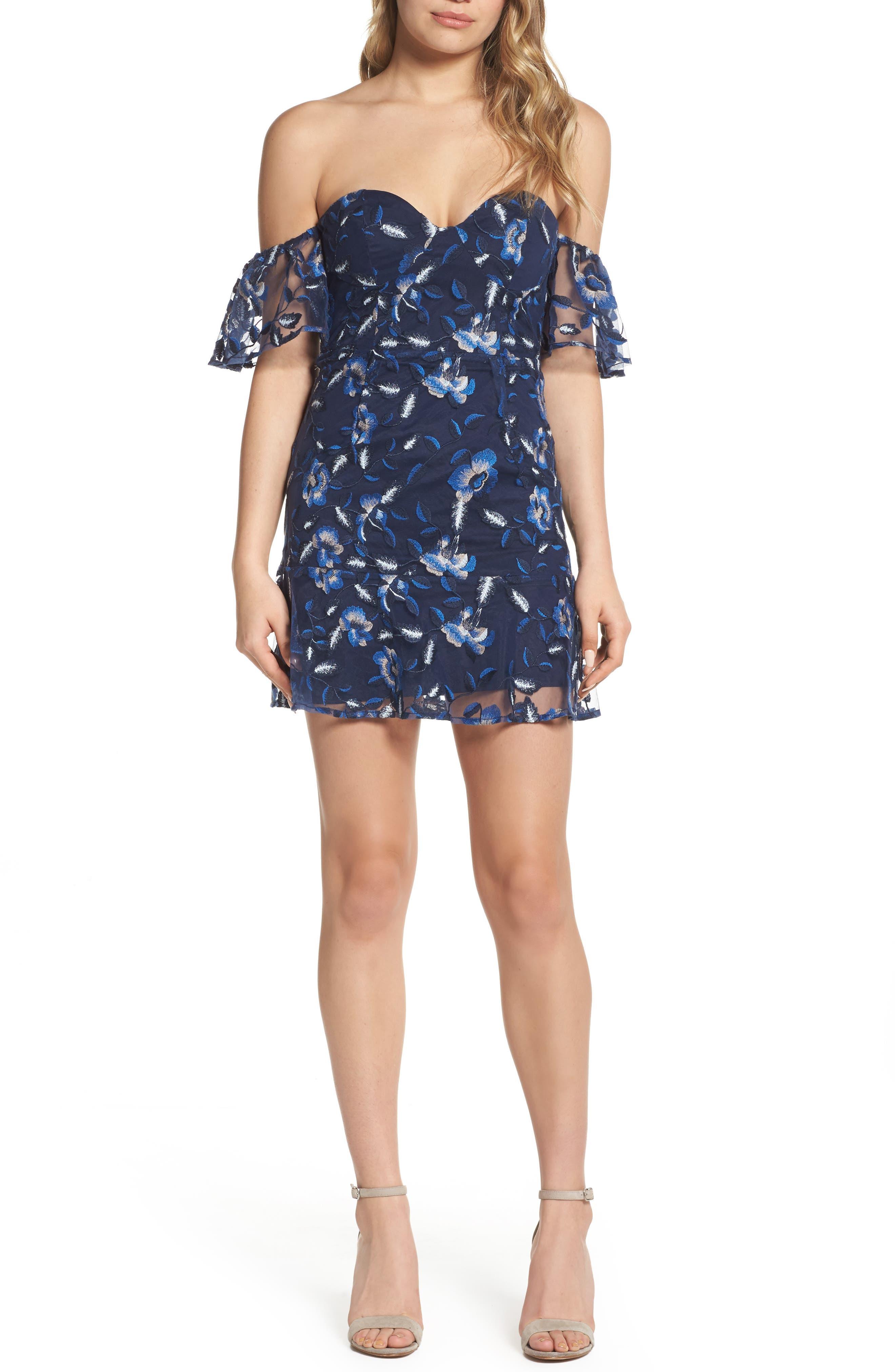 Sapphire Lace Off the Shoulder Dress,                             Main thumbnail 1, color,                             471