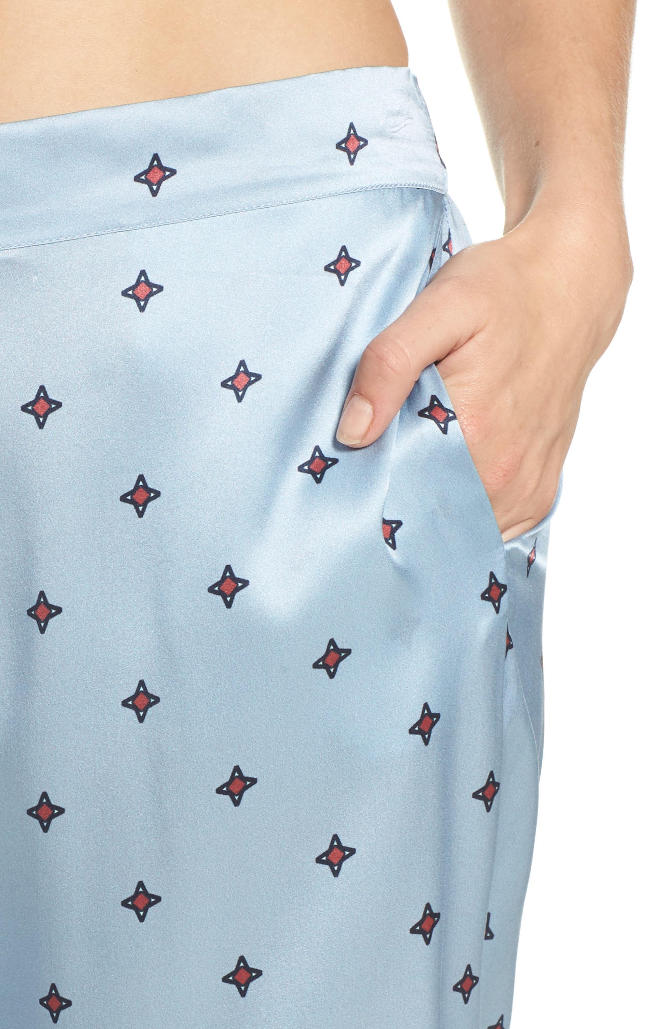 Print Silk Pajama Pants,                             Alternate thumbnail 4, color,                             400