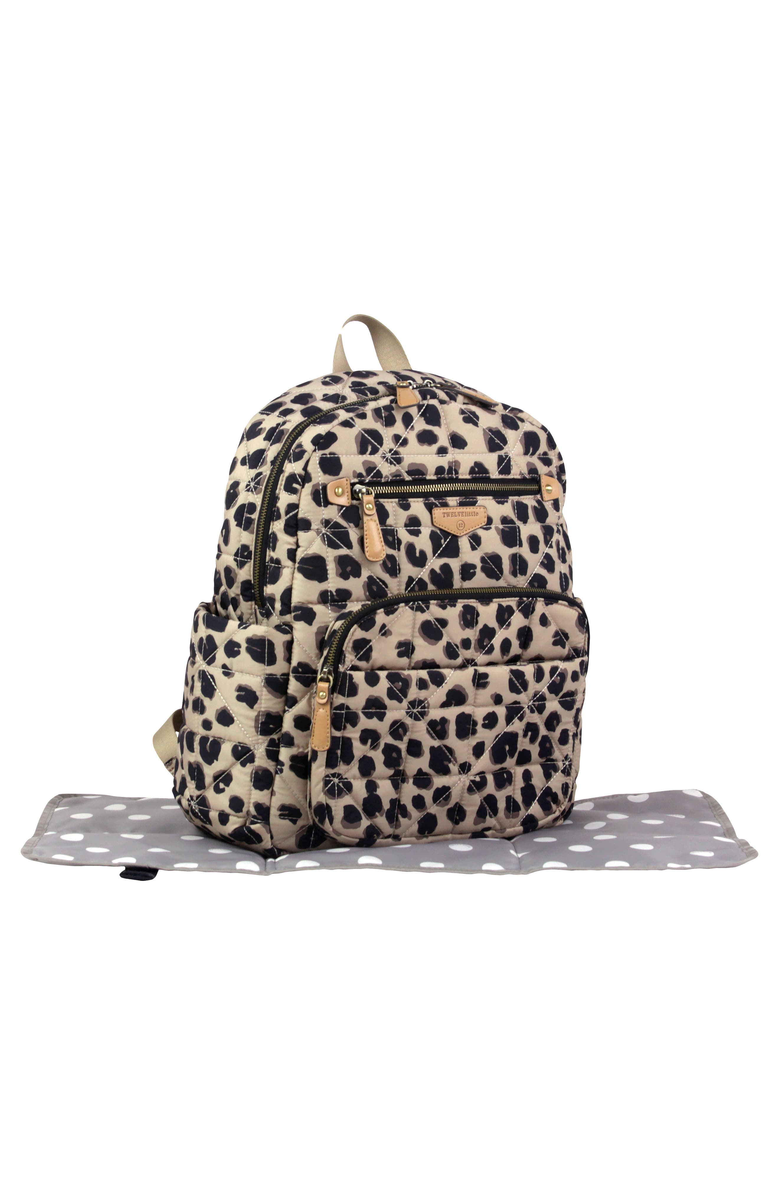 Quilted Water Resistant Nylon Diaper Backpack,                             Alternate thumbnail 5, color,                             LEOPARD PRINT
