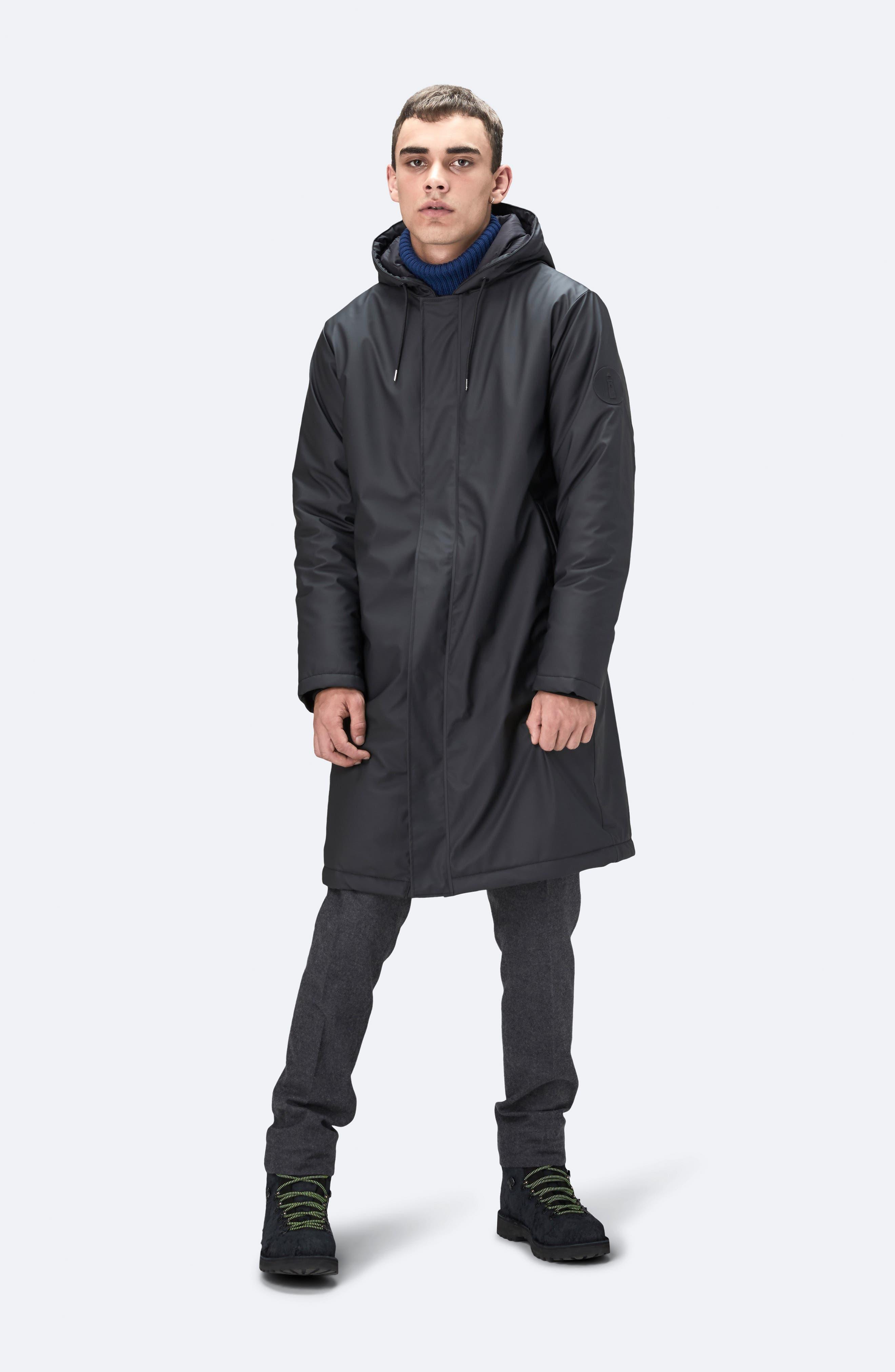 Thermal Hooded Raincoat,                             Alternate thumbnail 10, color,                             BLACK