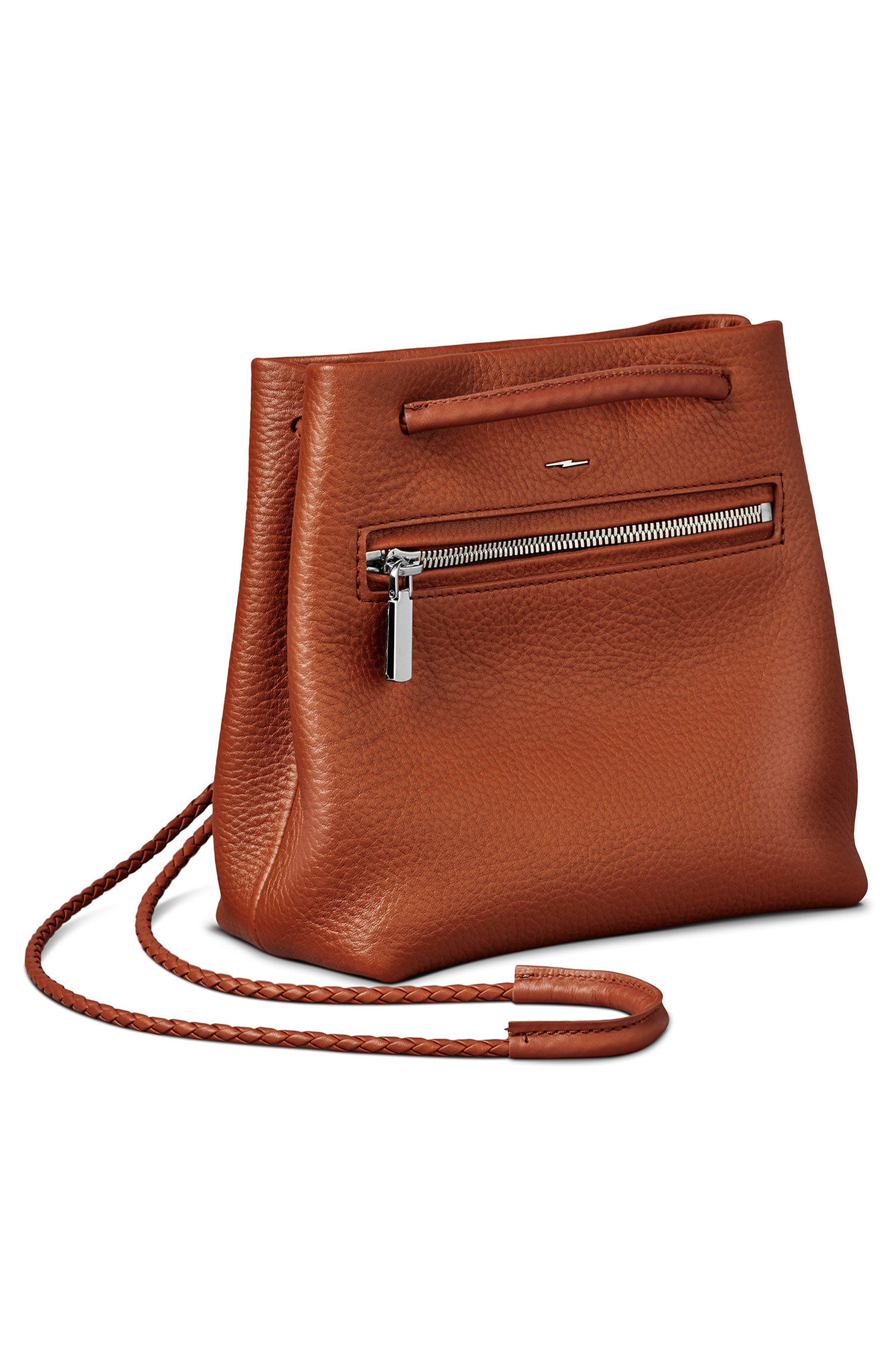 Mini Pebbled Leather Drawstring Crossbody Bag,                             Alternate thumbnail 18, color,