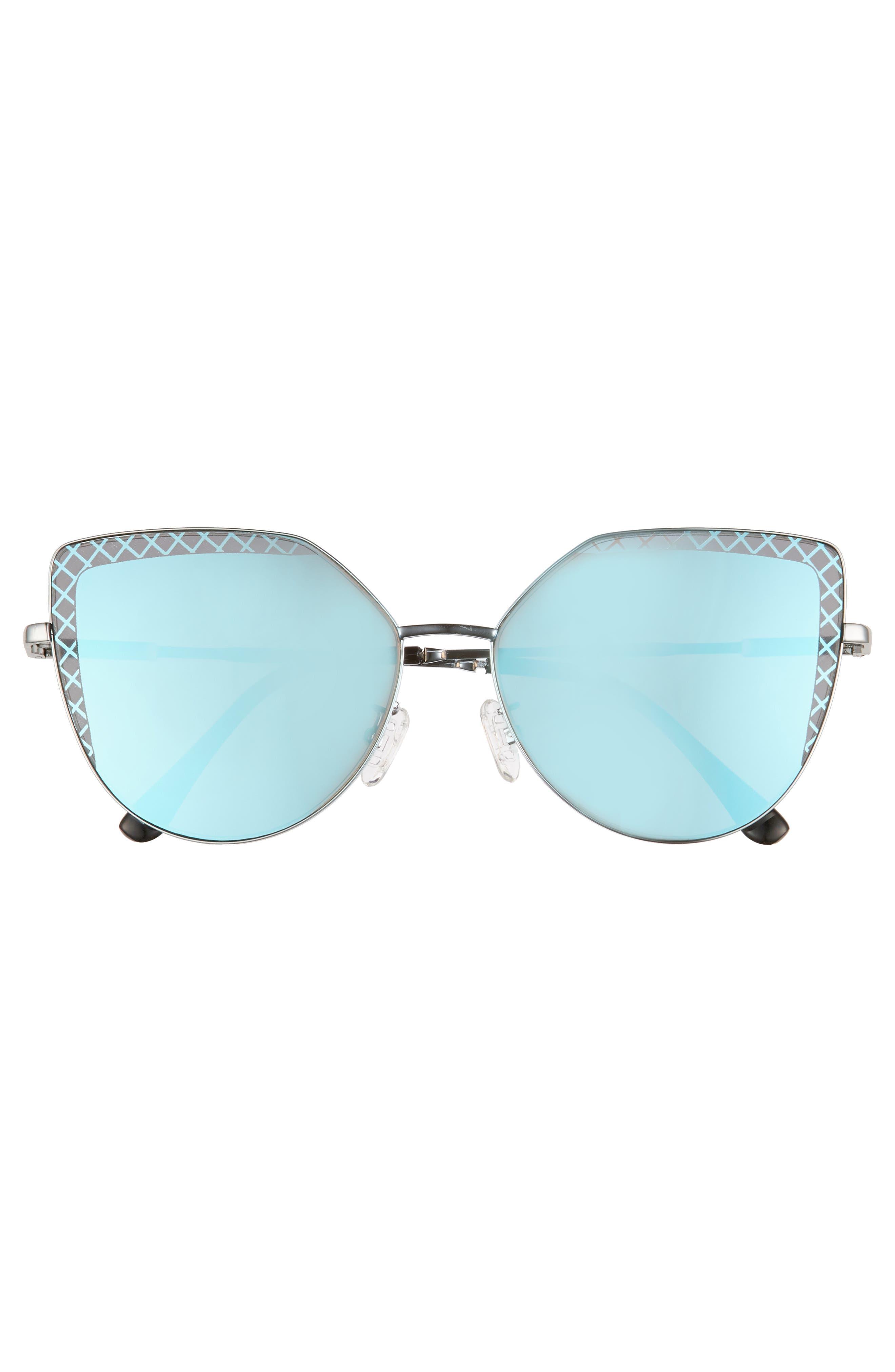 60mm Textured Lens Cat Eye Sunglasses,                             Alternate thumbnail 3, color,                             SILVER/ BLUE