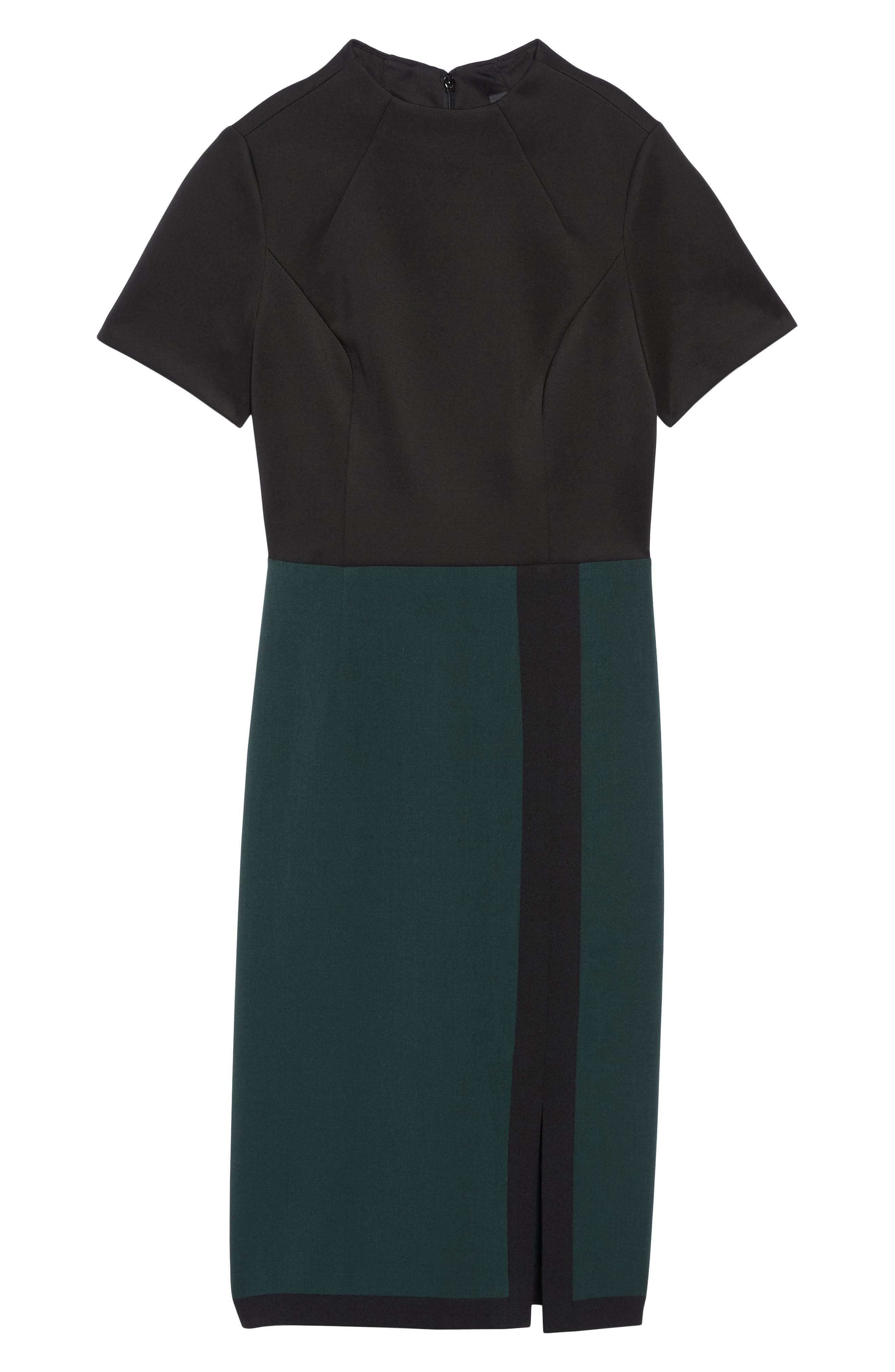 Scuba & Crepe Sheath Dress,                             Alternate thumbnail 13, color,