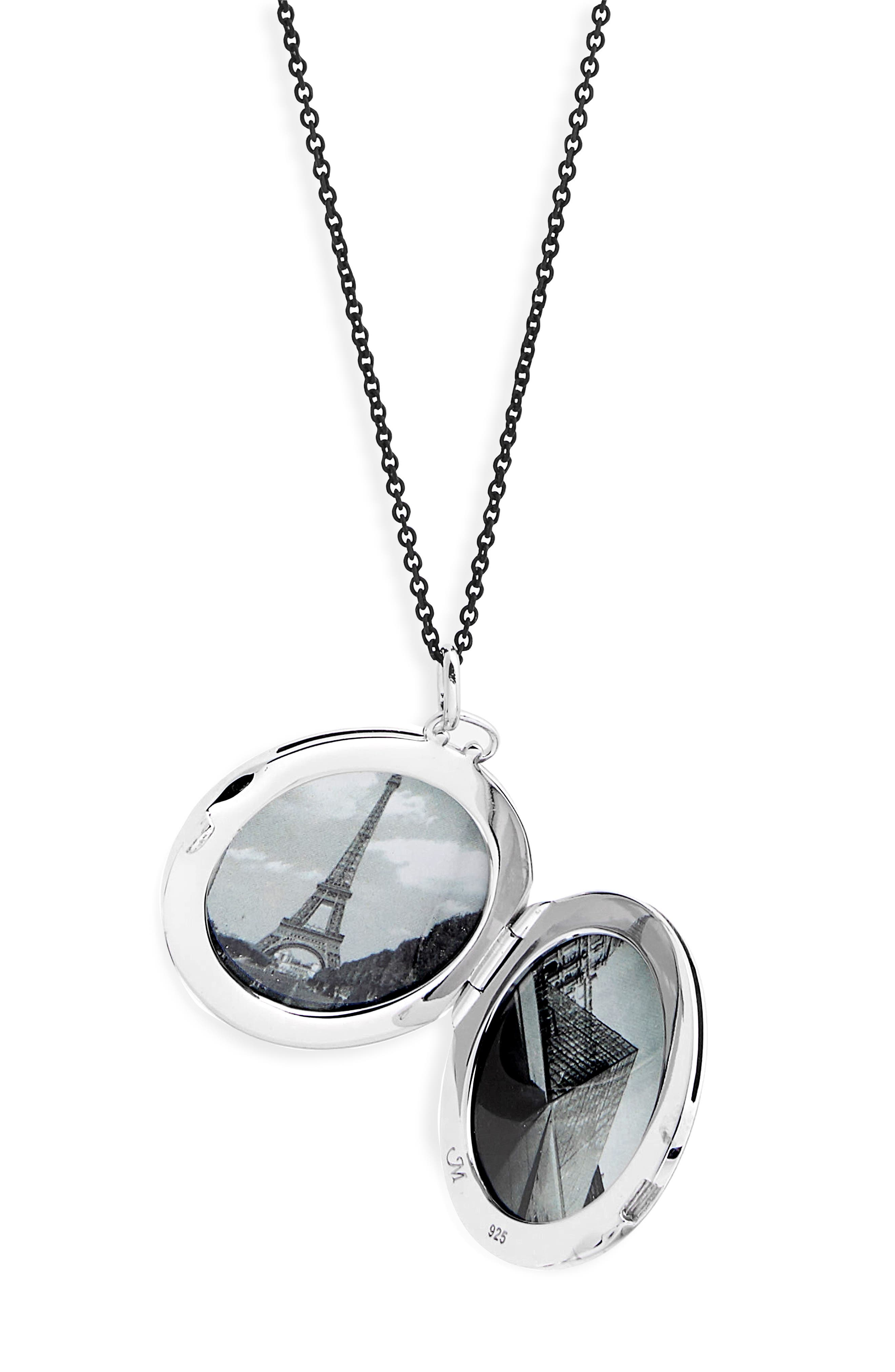 Round Dome Locket Necklace,                             Alternate thumbnail 3, color,                             STERLING SILVER/ BLACK STEEL