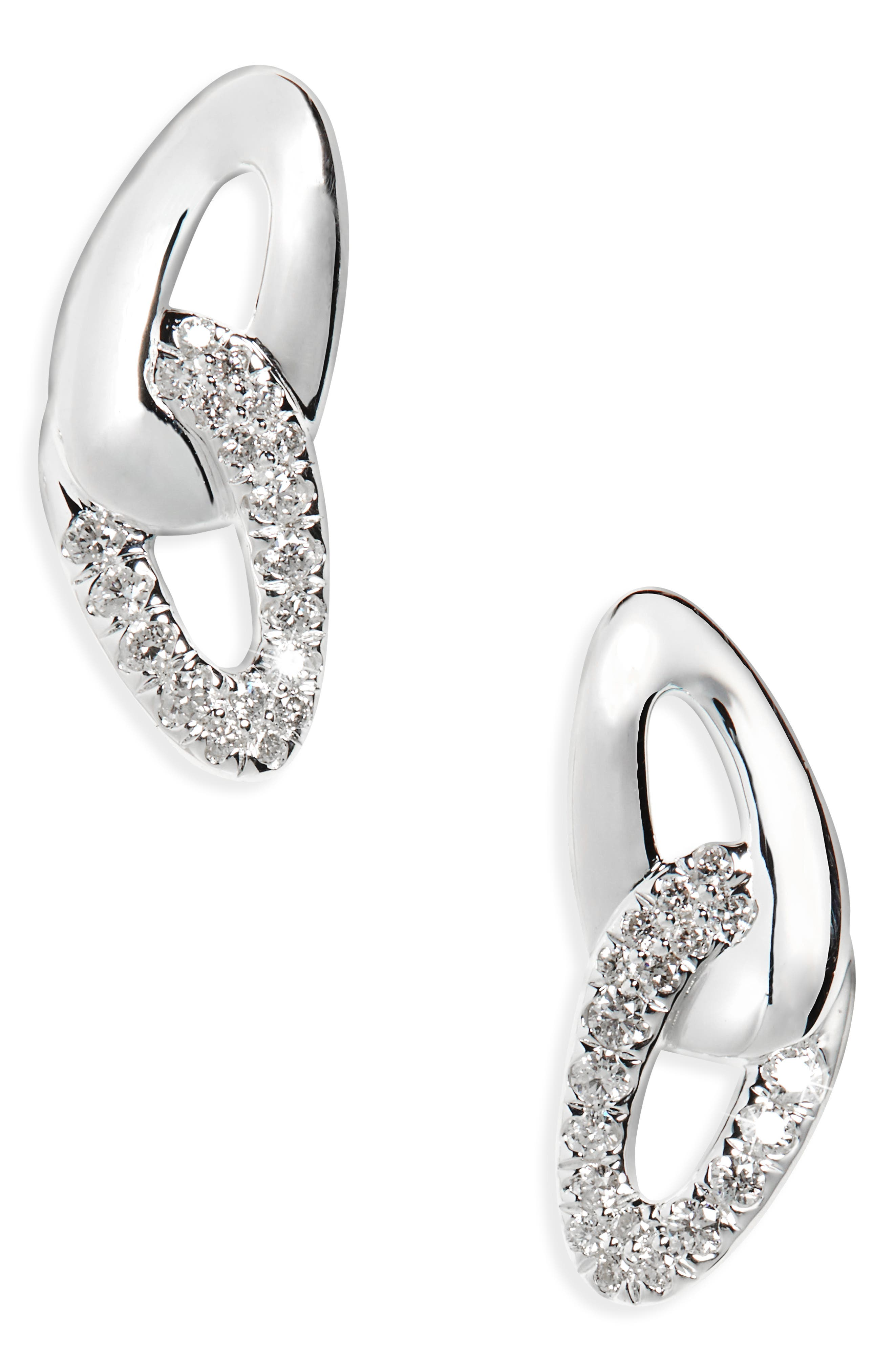 Cherish Link Diamond Stud Earrings,                         Main,                         color, 040