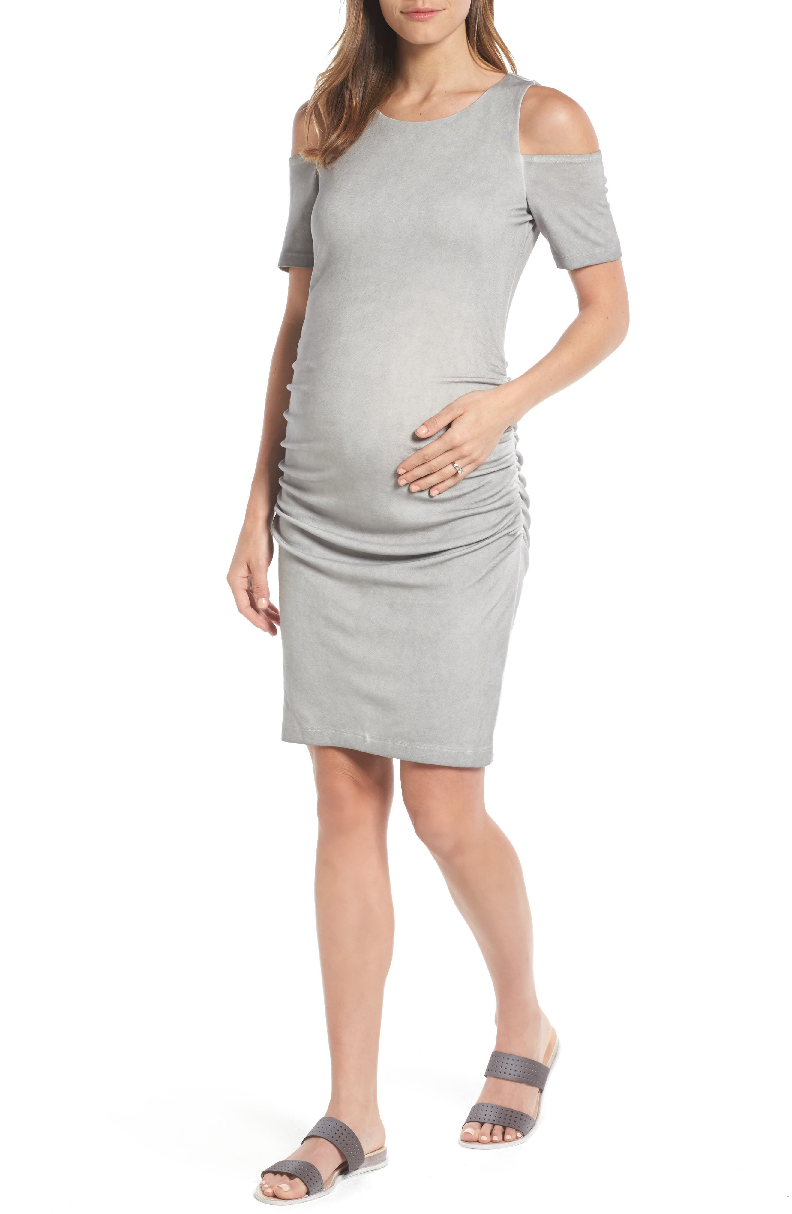 Rosie Cold Shoulder Body-Con Maternity Dress,                             Main thumbnail 1, color,                             007