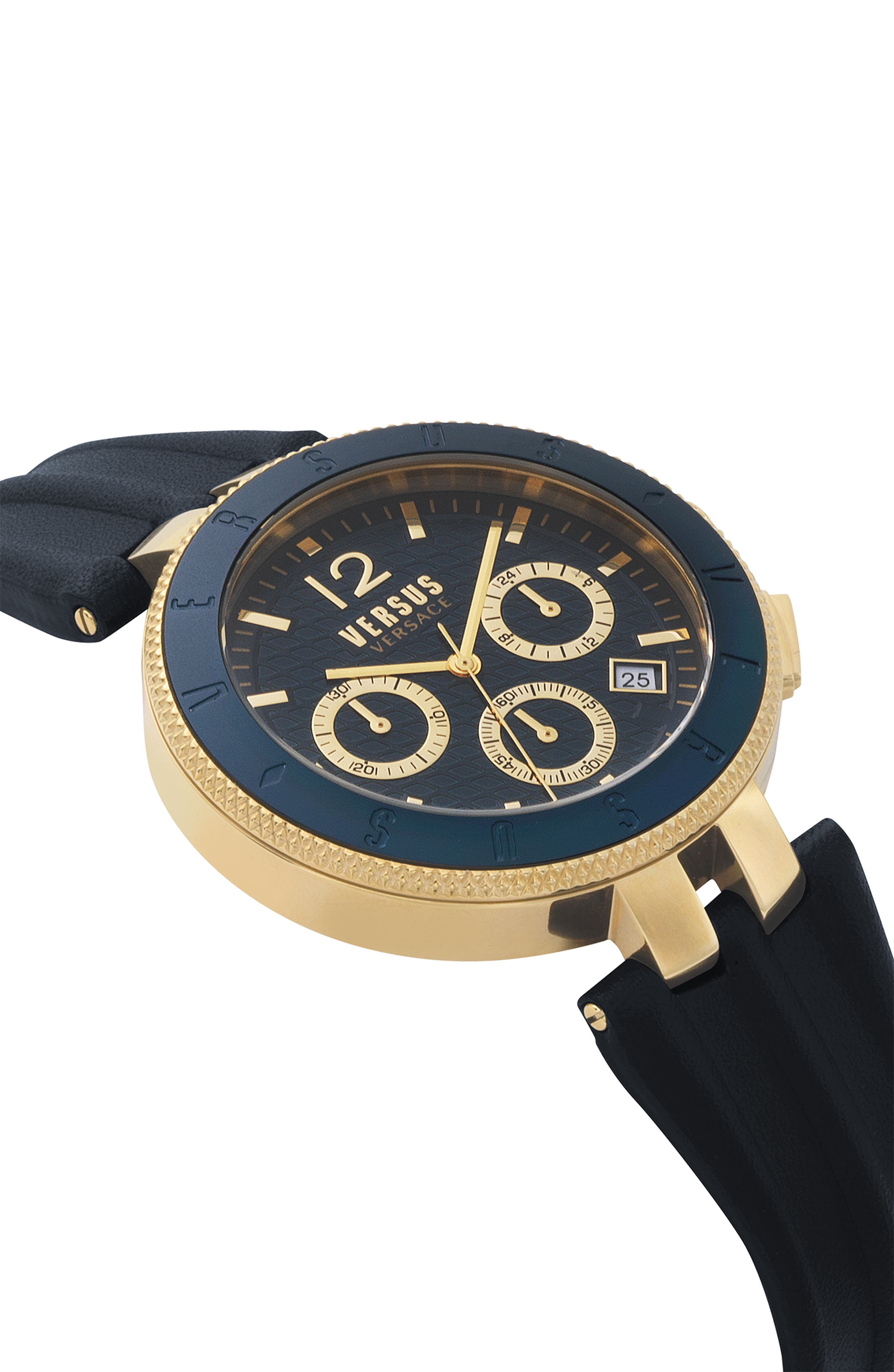Versace Logo Chronograph Leather Strap Watch, 44mm,                             Alternate thumbnail 3, color,                             BLUE/ GOLD