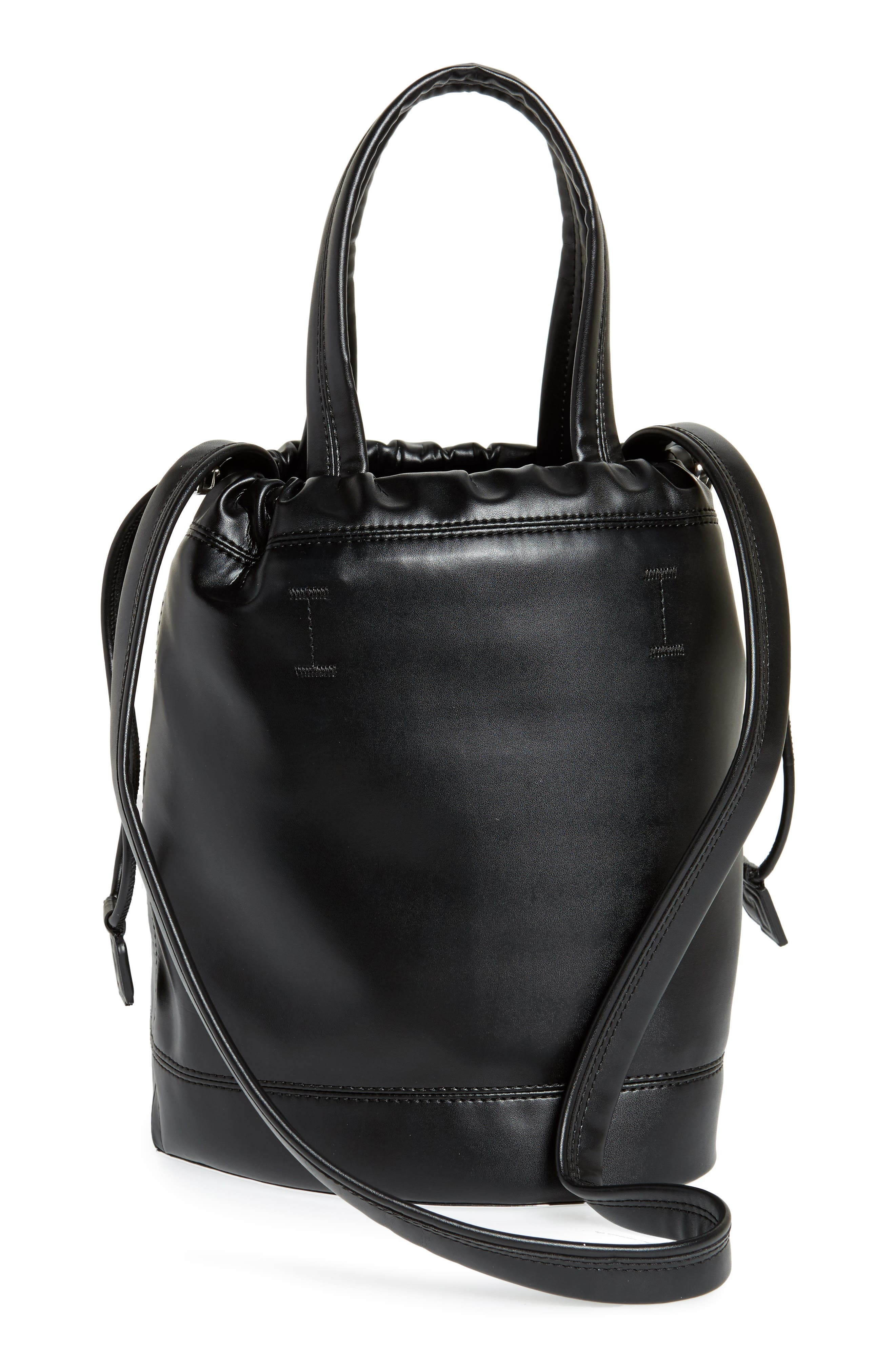 Medium Pouch Faux Leather Tote,                             Alternate thumbnail 3, color,                             BLACK