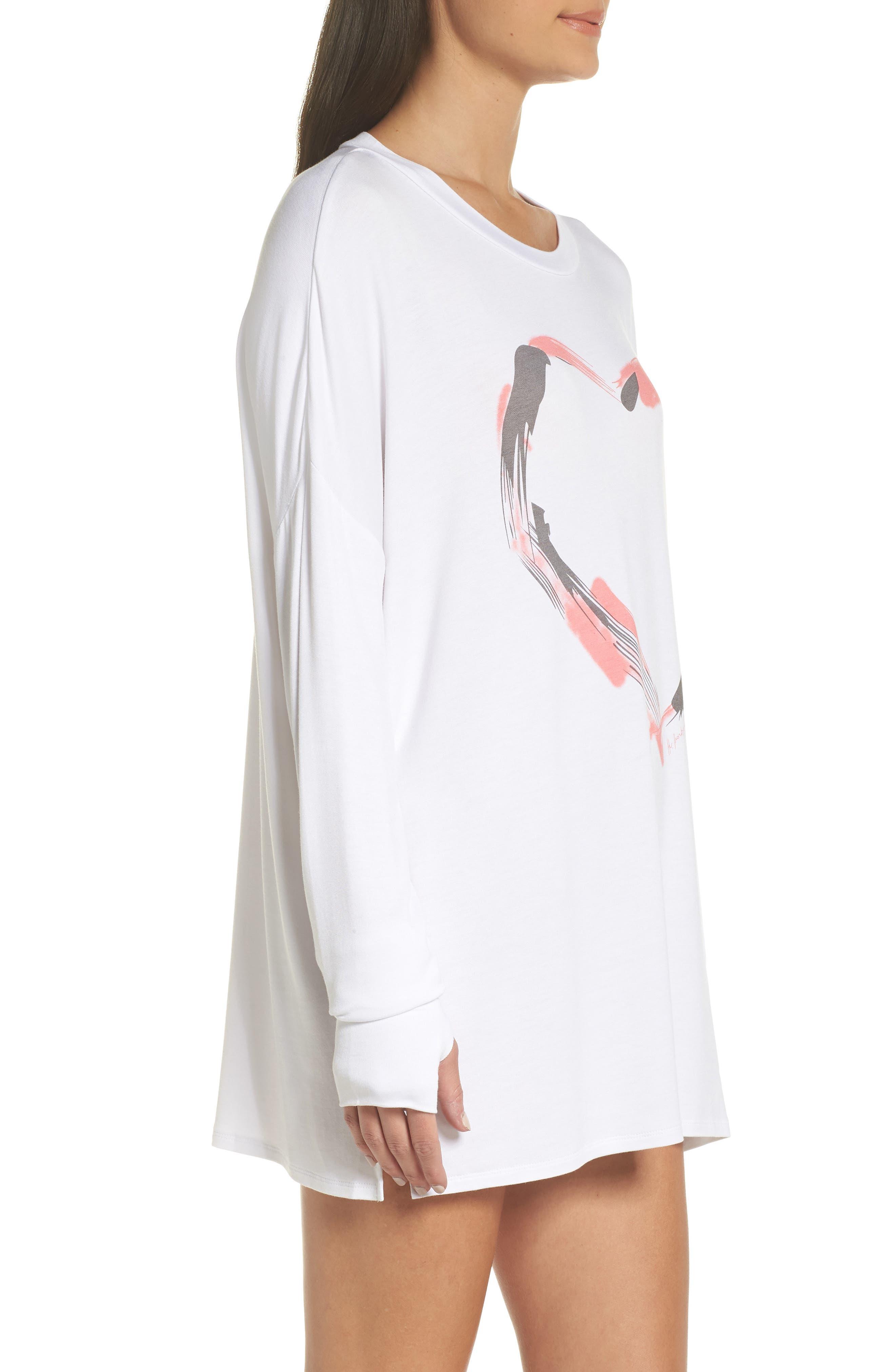 Heart Strokes Sleep Shirt,                             Alternate thumbnail 3, color,                             WHITE