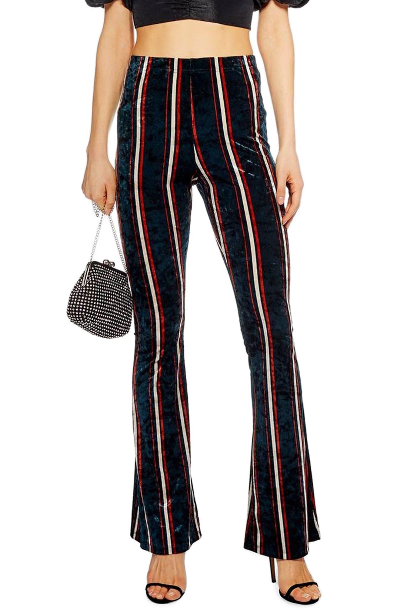 Petite Topshop Stripe Velvet Flare Pants, P US (fits like 6-8P) - Black