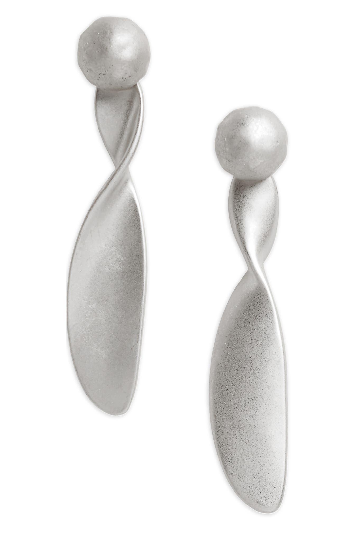 Twist Brushed Metal Drop Earrings,                         Main,                         color,