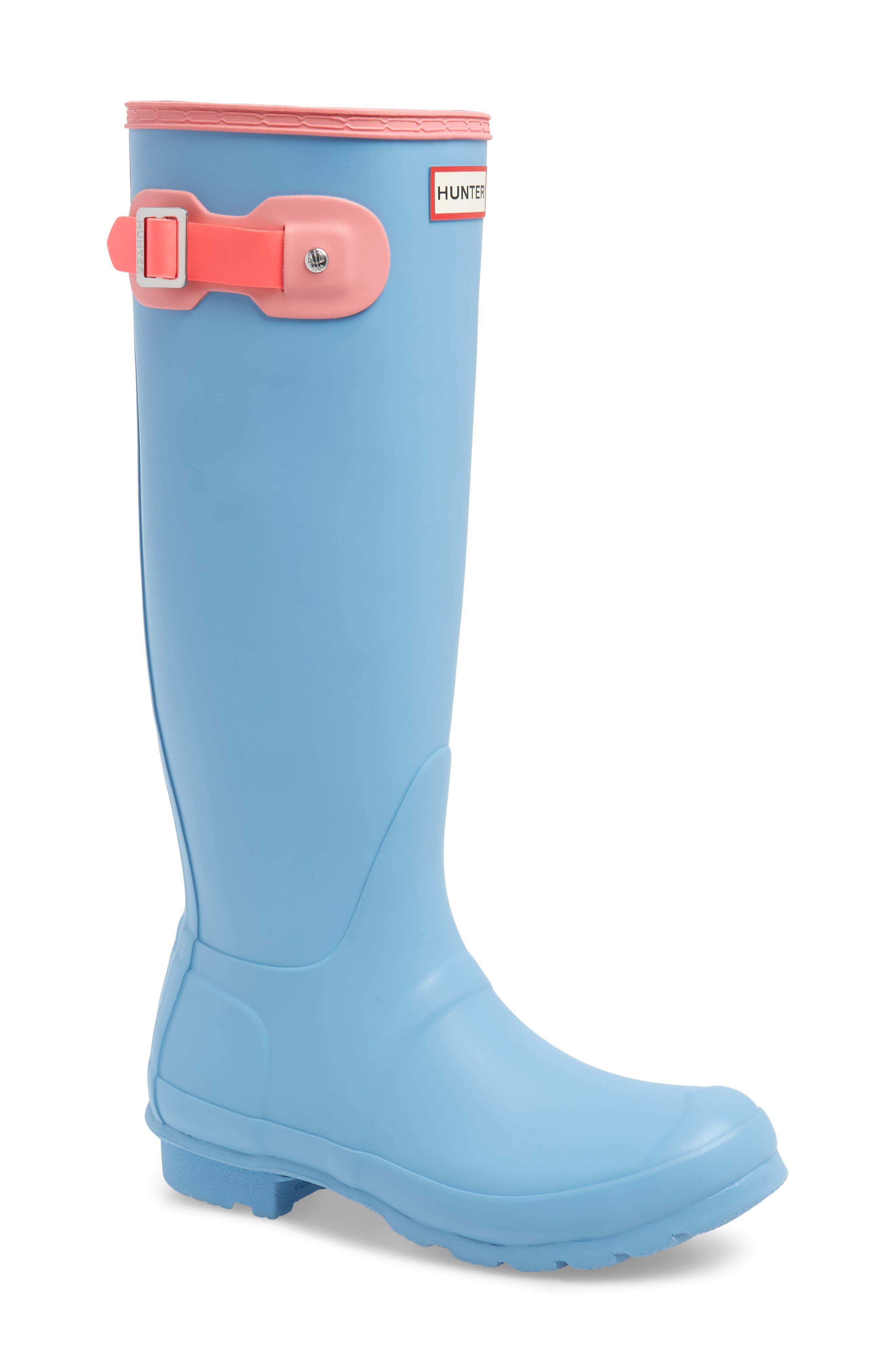 Original Colorblock Knee High Rain Boot,                             Main thumbnail 1, color,                             PALE BLUE