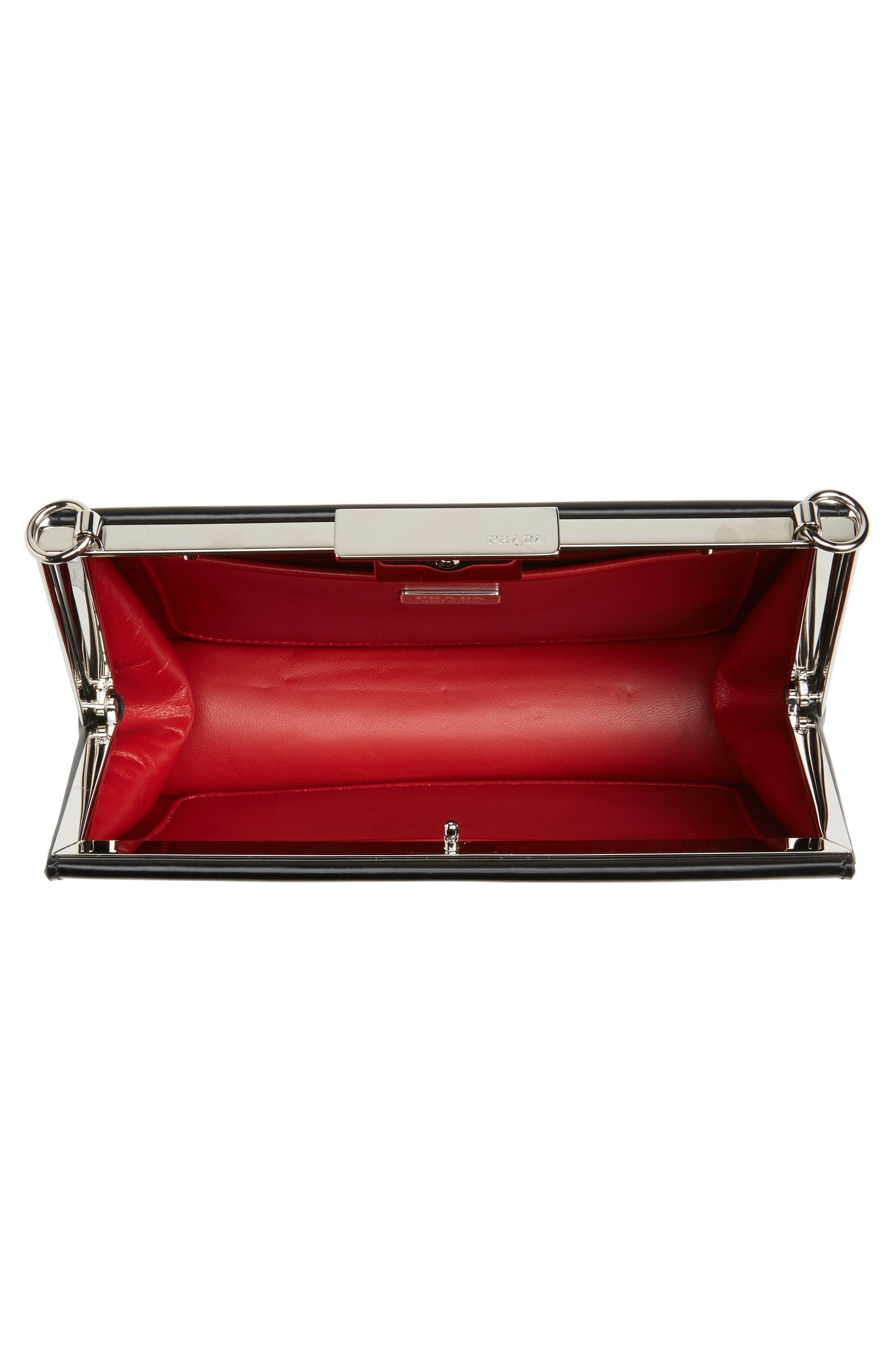 PRADA,                             Spazzolato Calfskin Crossbody Bag,                             Alternate thumbnail 5, color,                             001