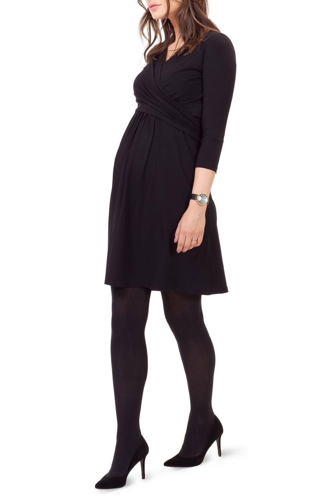 ISABELLA OLIVER,                             'Avebury' Nursing Wrap Maternity Dress,                             Alternate thumbnail 4, color,                             001