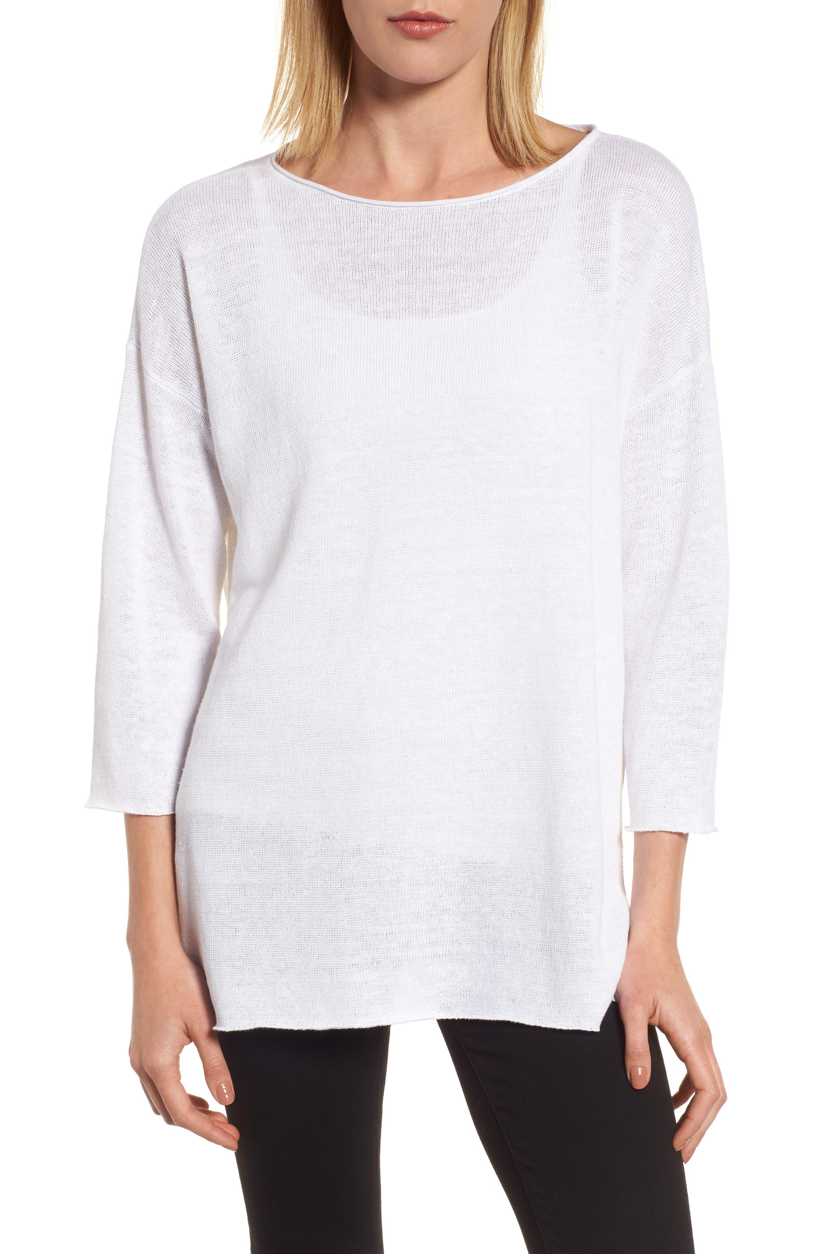 Side Tie Organic Linen Sweater,                         Main,                         color, 100