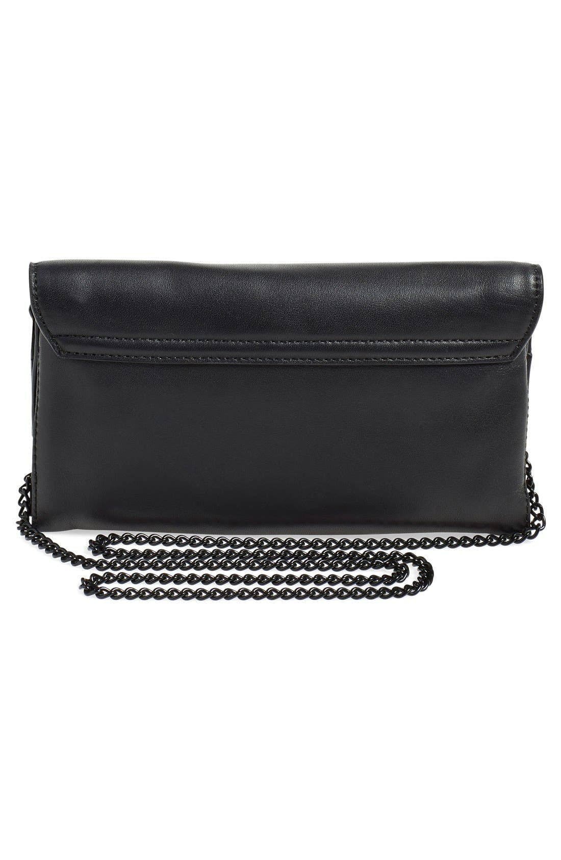 Leather Accordion Clutch,                             Alternate thumbnail 3, color,                             001