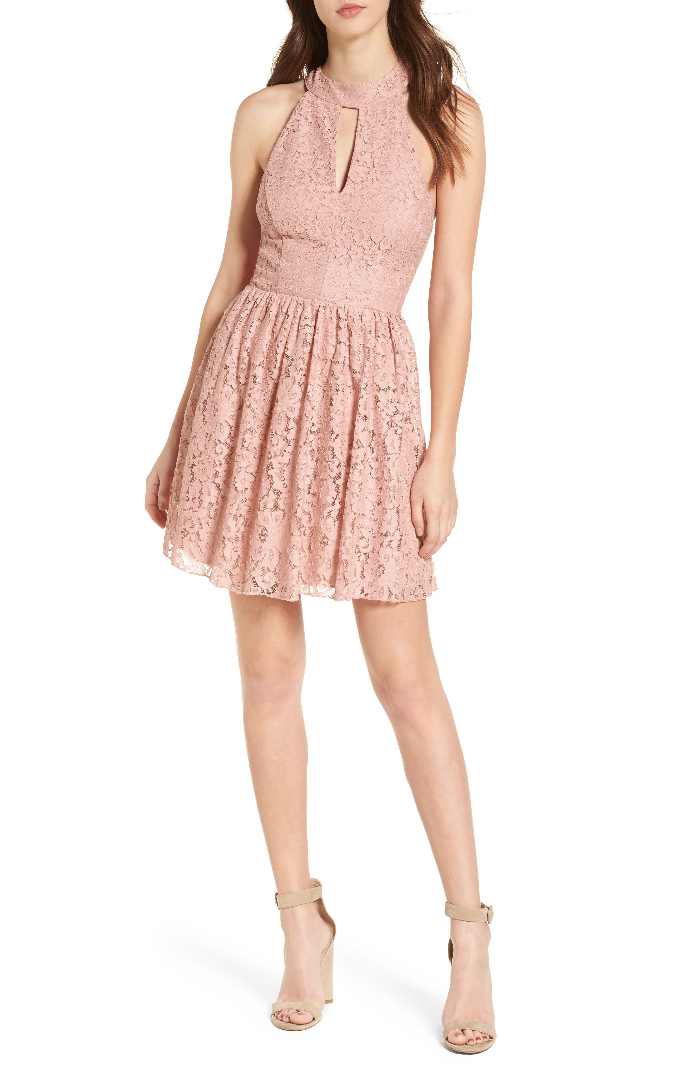 Gigi Lace Fit & Flare Dress,                             Main thumbnail 1, color,
