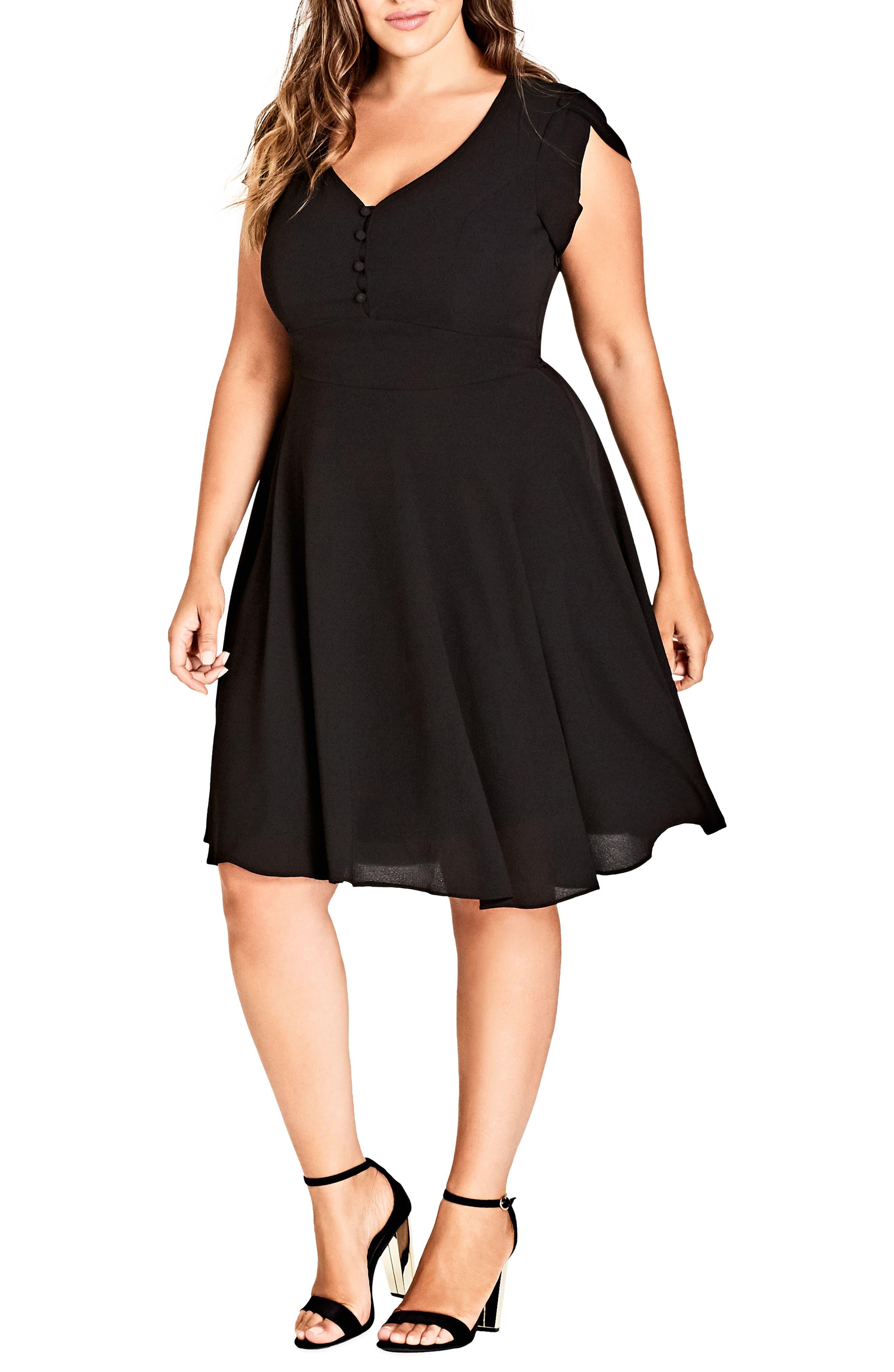 Button Fit & Flare Dress,                         Main,                         color, BLACK