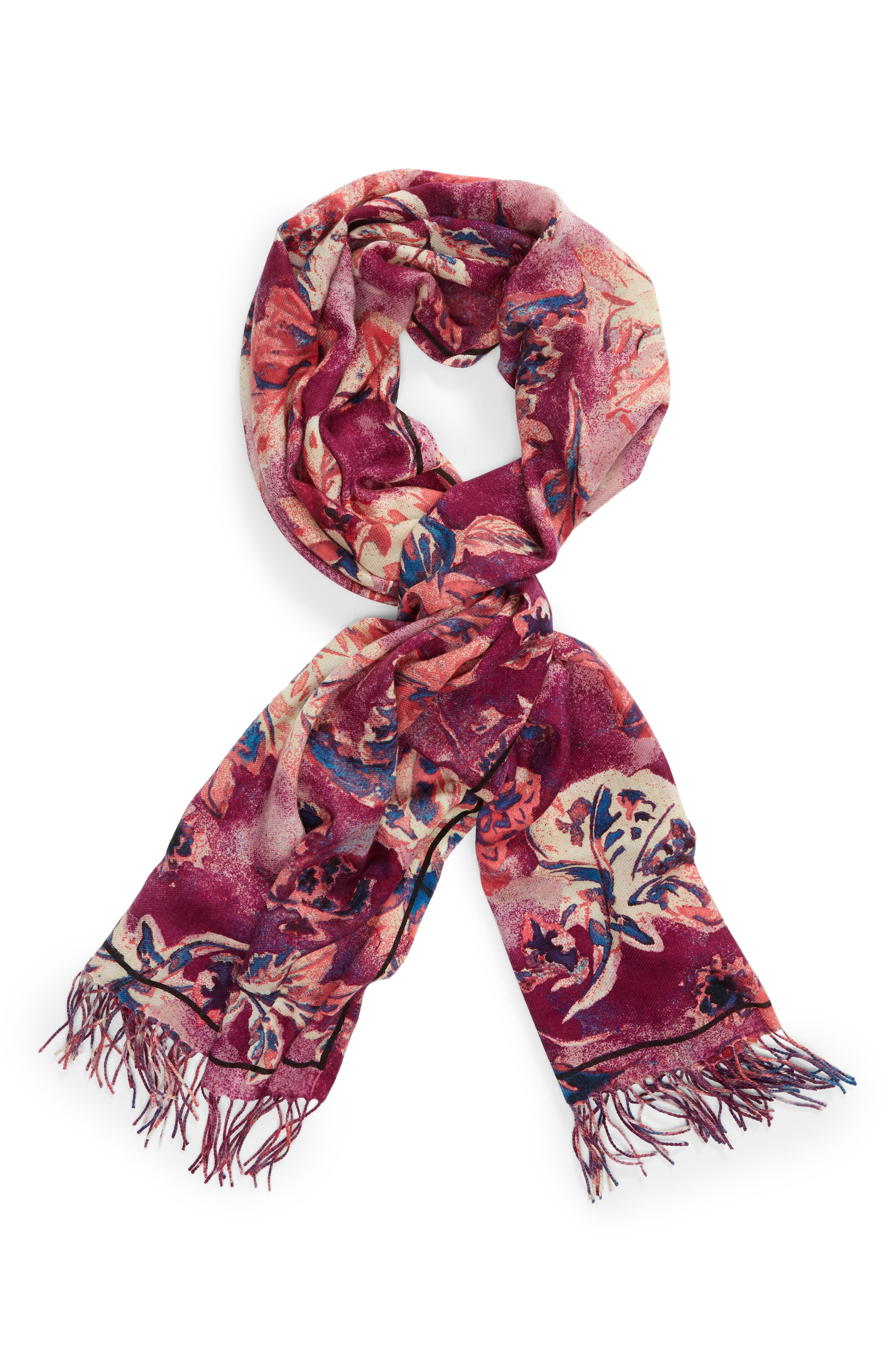 Tissue Print Wool & Cashmere Wrap Scarf,                             Alternate thumbnail 78, color,