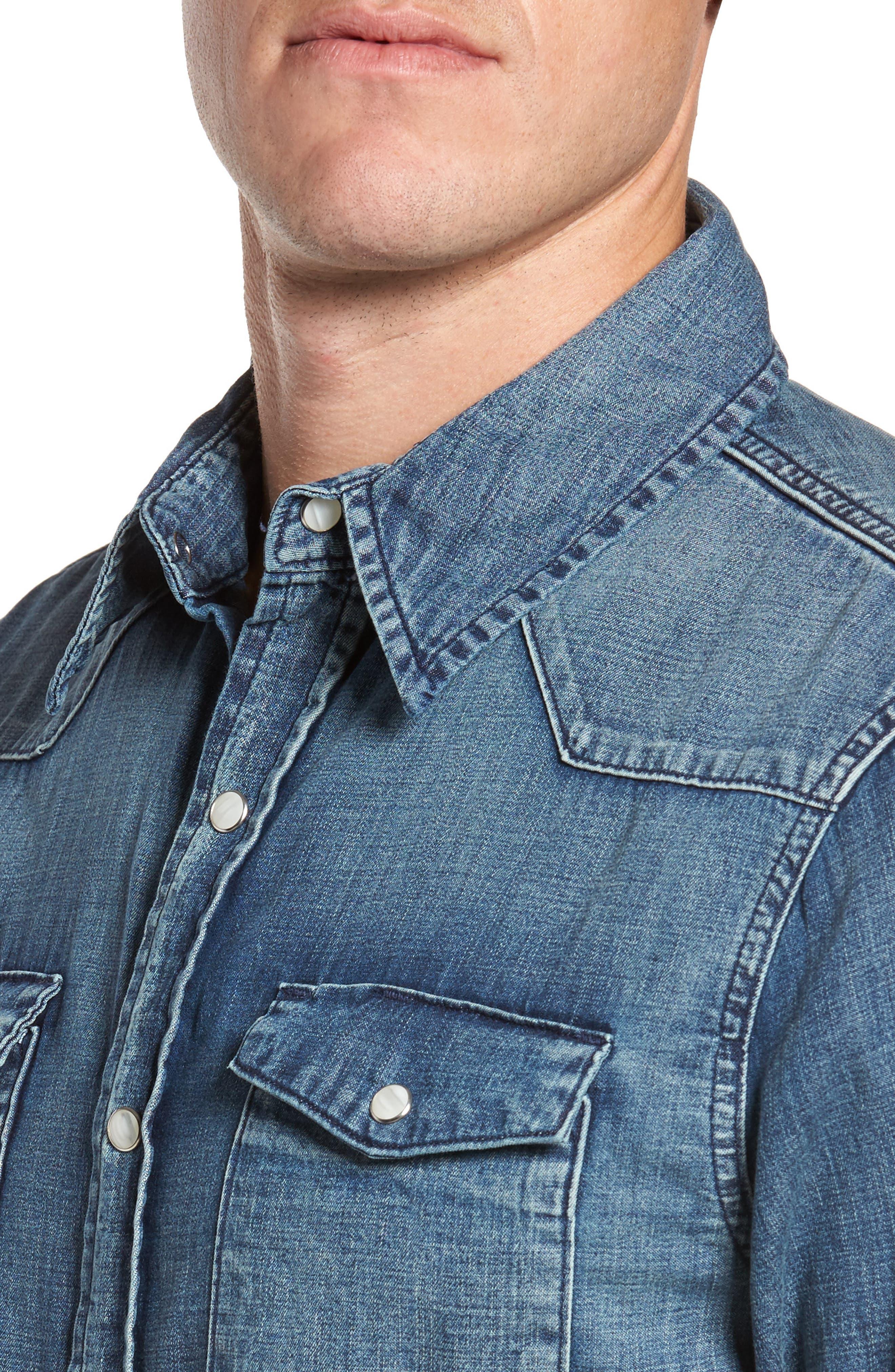 Denim Western Shirt,                             Alternate thumbnail 4, color,                             401