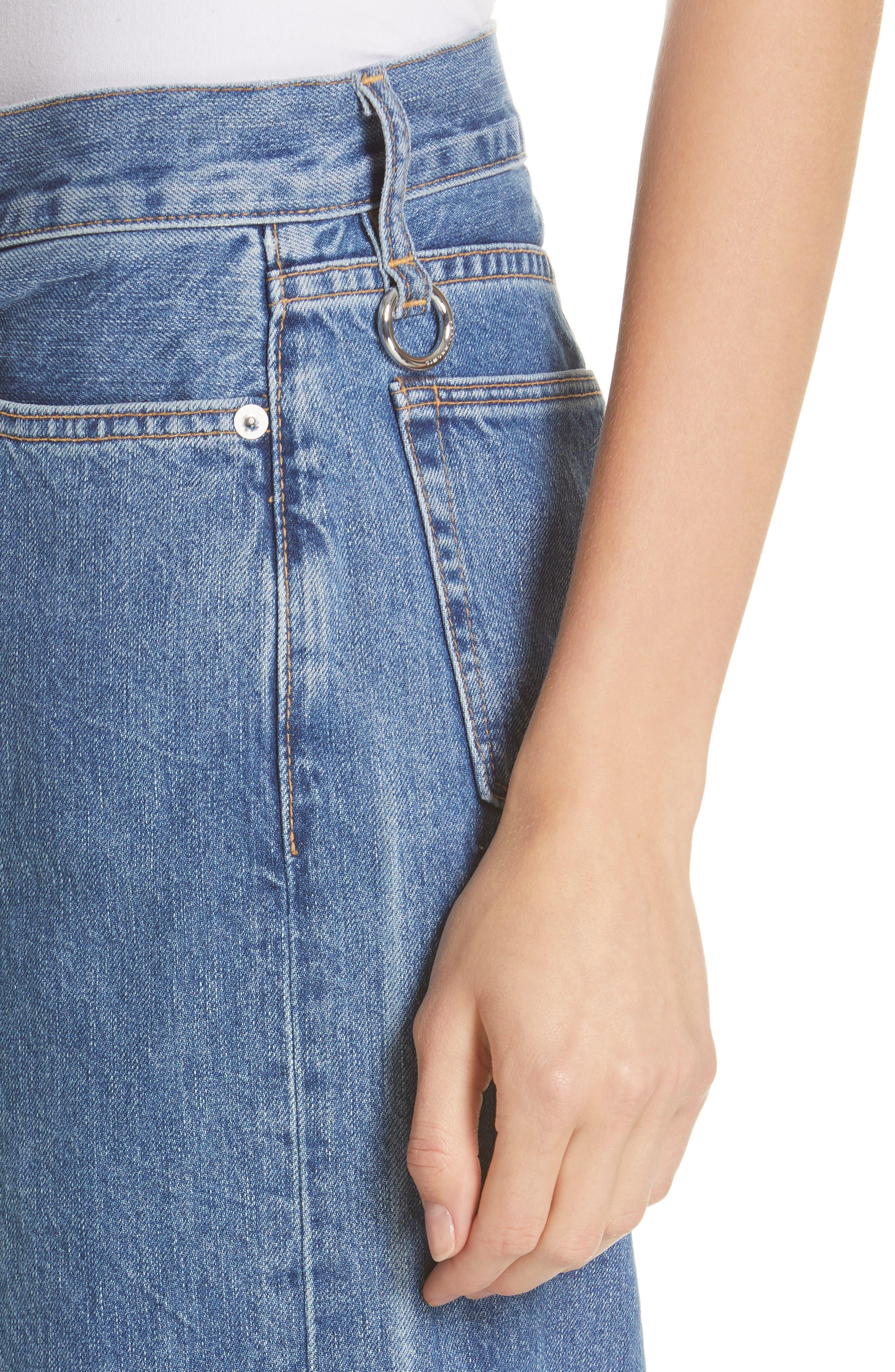 Crop Frayed Wide Leg Jeans,                             Alternate thumbnail 4, color,                             VINTAGE WASH 4