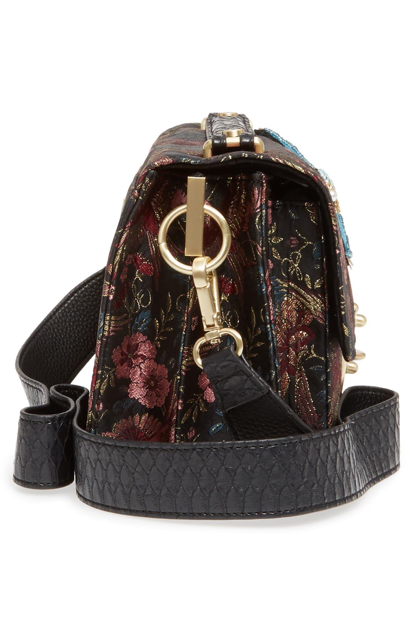 Gessica Jacquard Shoulder Bag,                             Alternate thumbnail 5, color,                             001