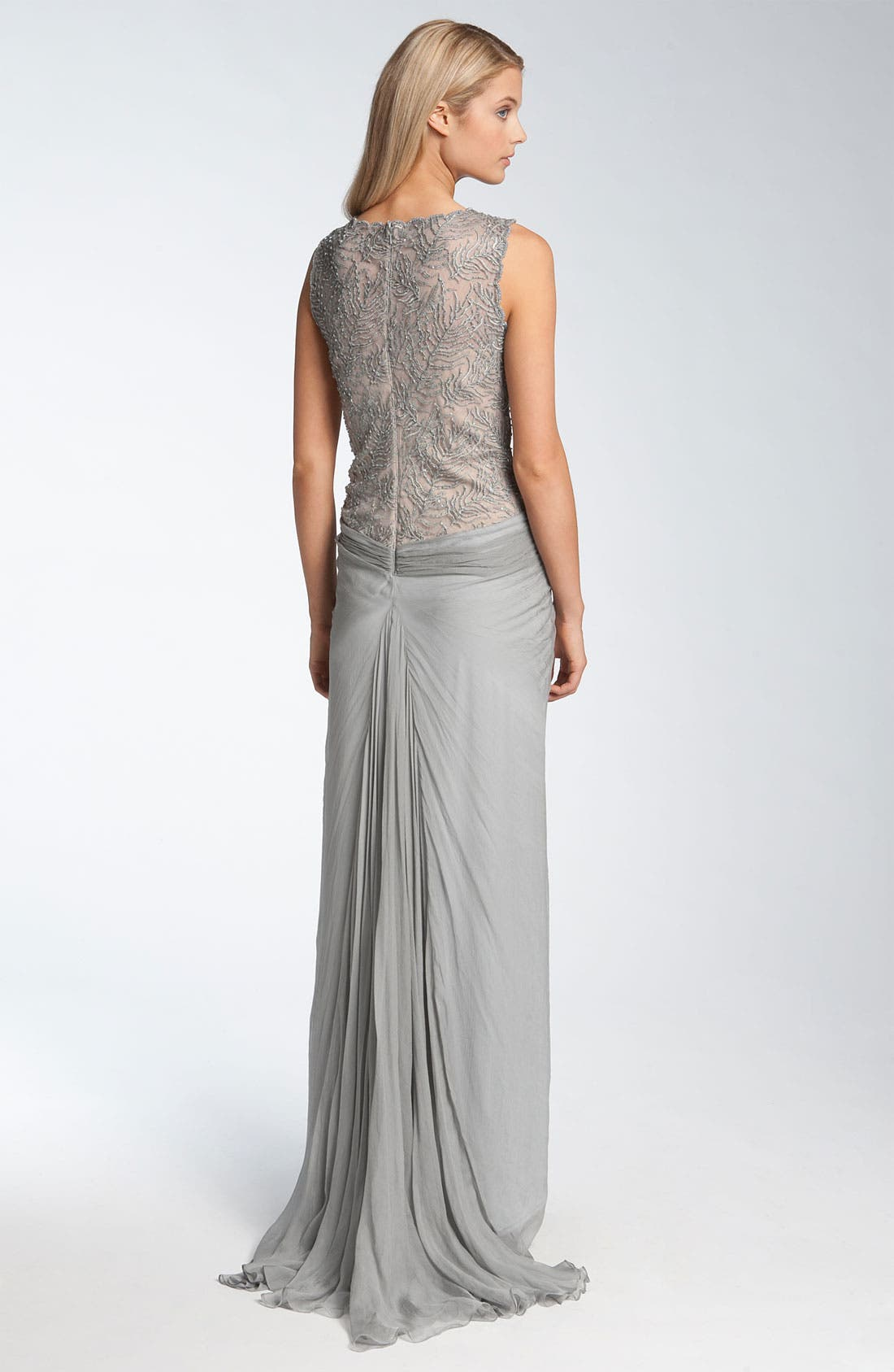 Lace & Chiffon Gown,                             Alternate thumbnail 2, color,                             020
