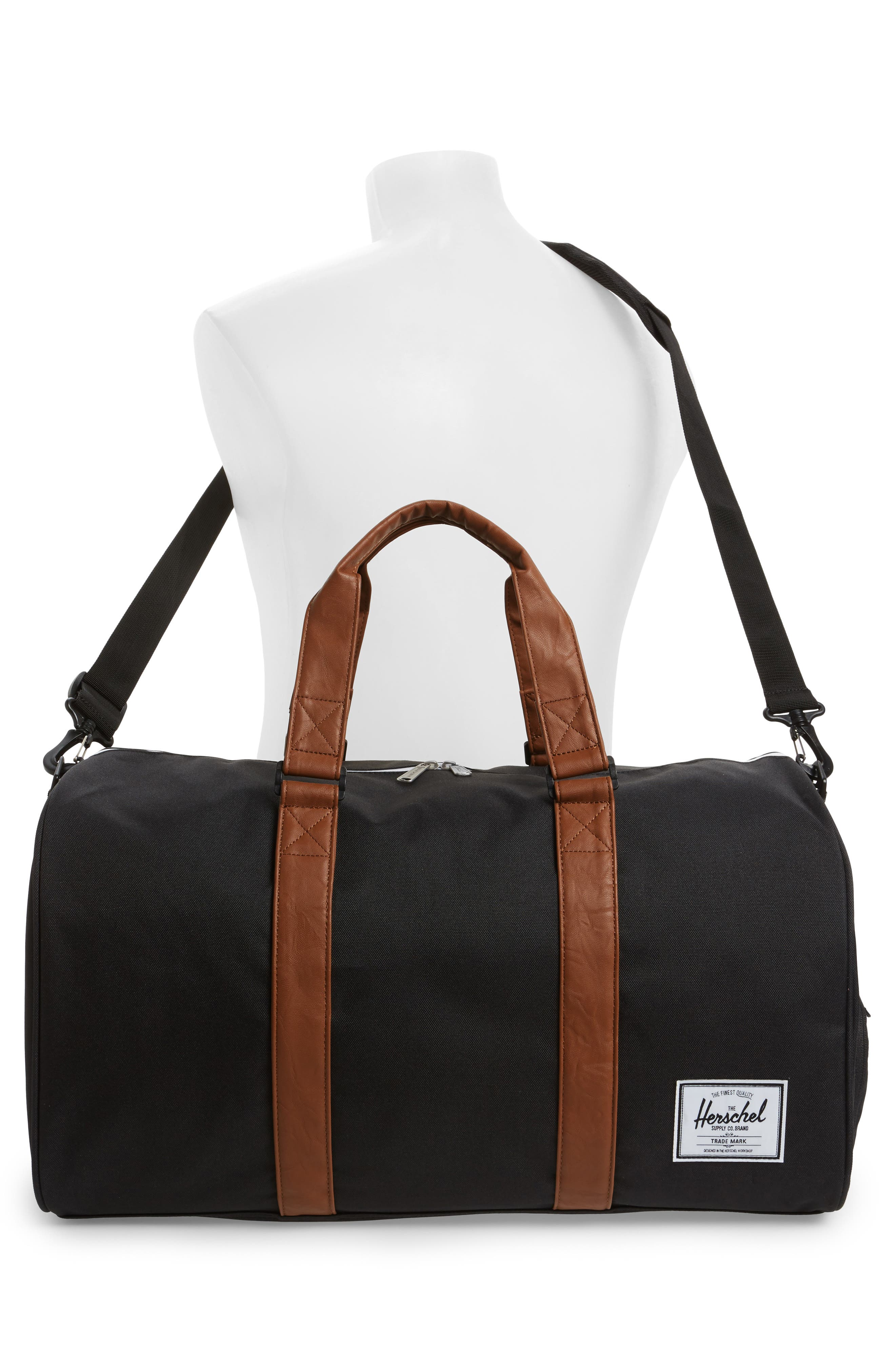 'Novel' Duffel Bag,                             Alternate thumbnail 2, color,                             BLACK/ TAN
