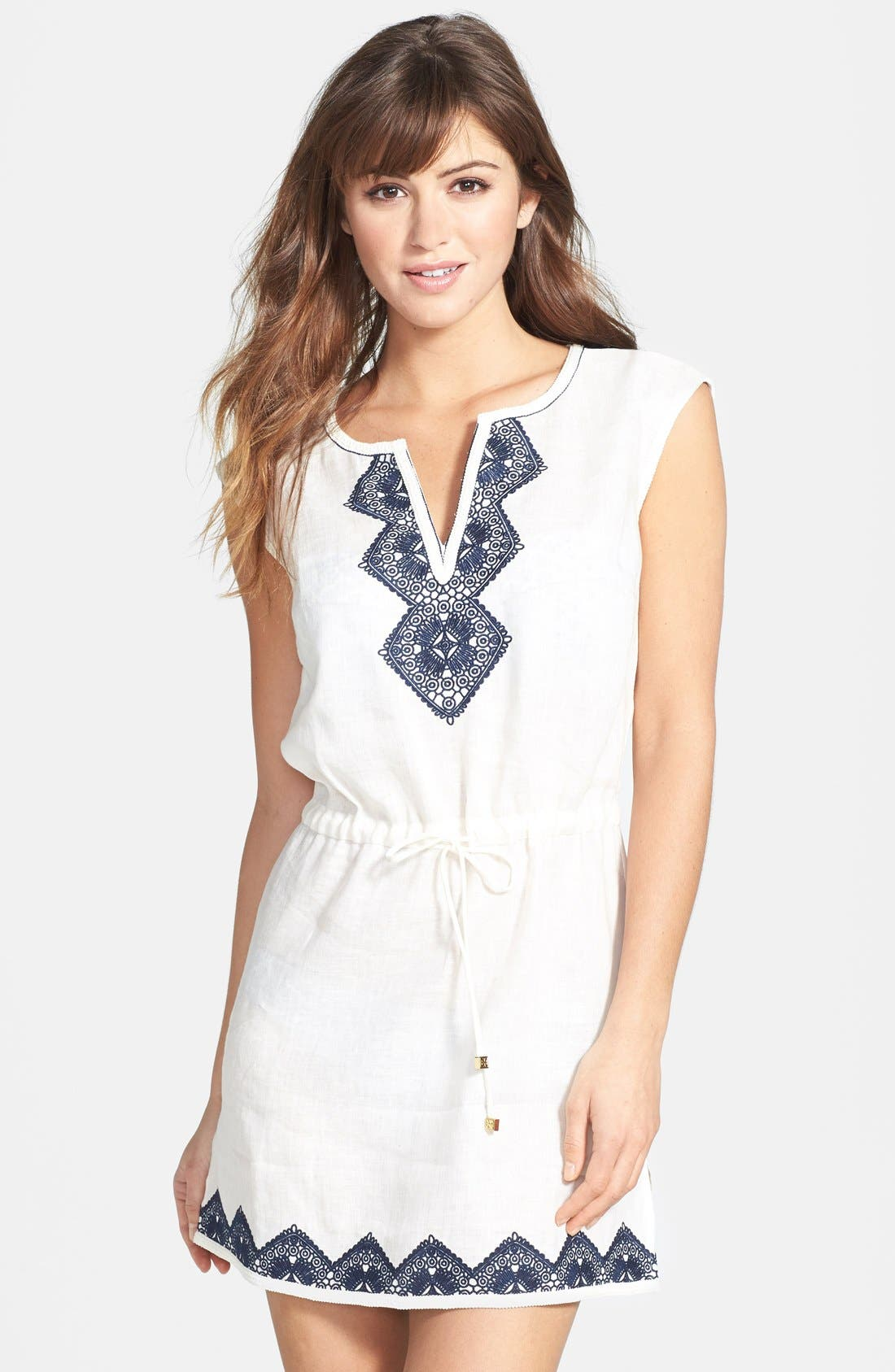 TORY BURCH 'Margherita' Embroidered Linen Dress, Main, color, 900