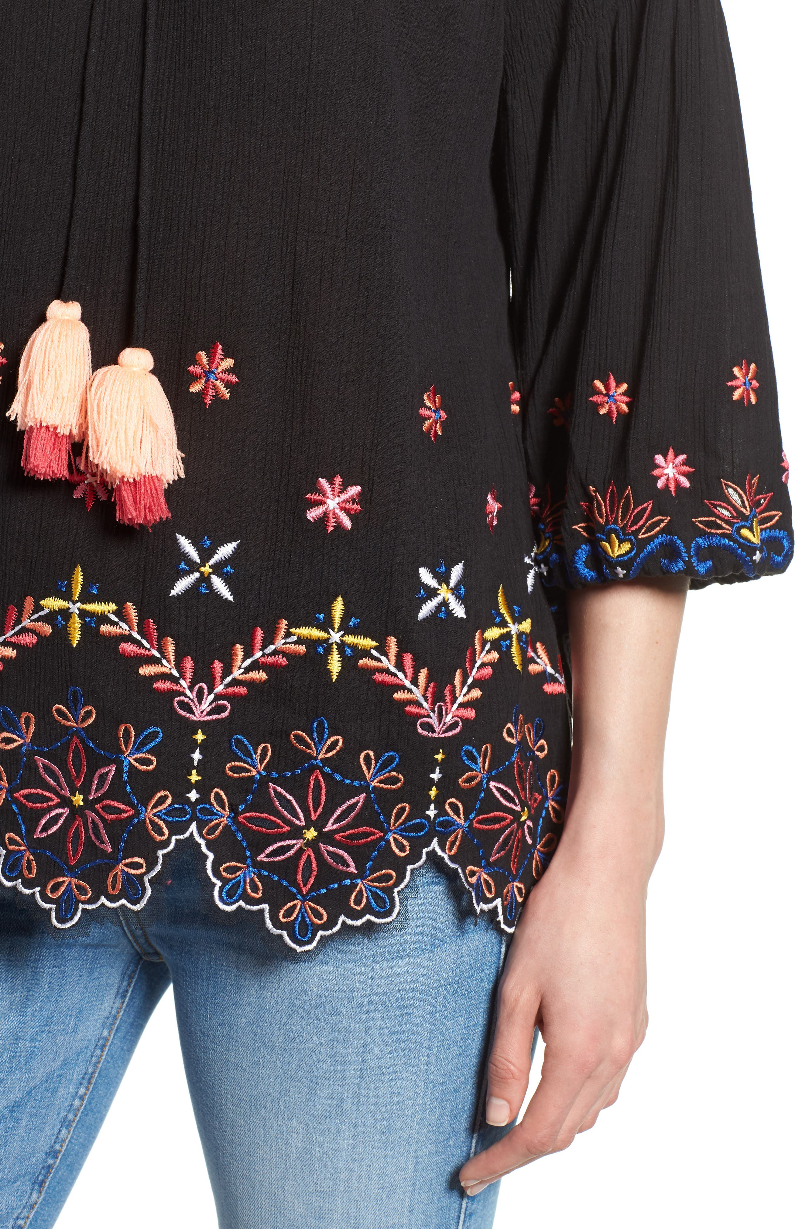 Hand Embroidered Cotton Peasant Blouse,                             Alternate thumbnail 4, color,                             BLACK