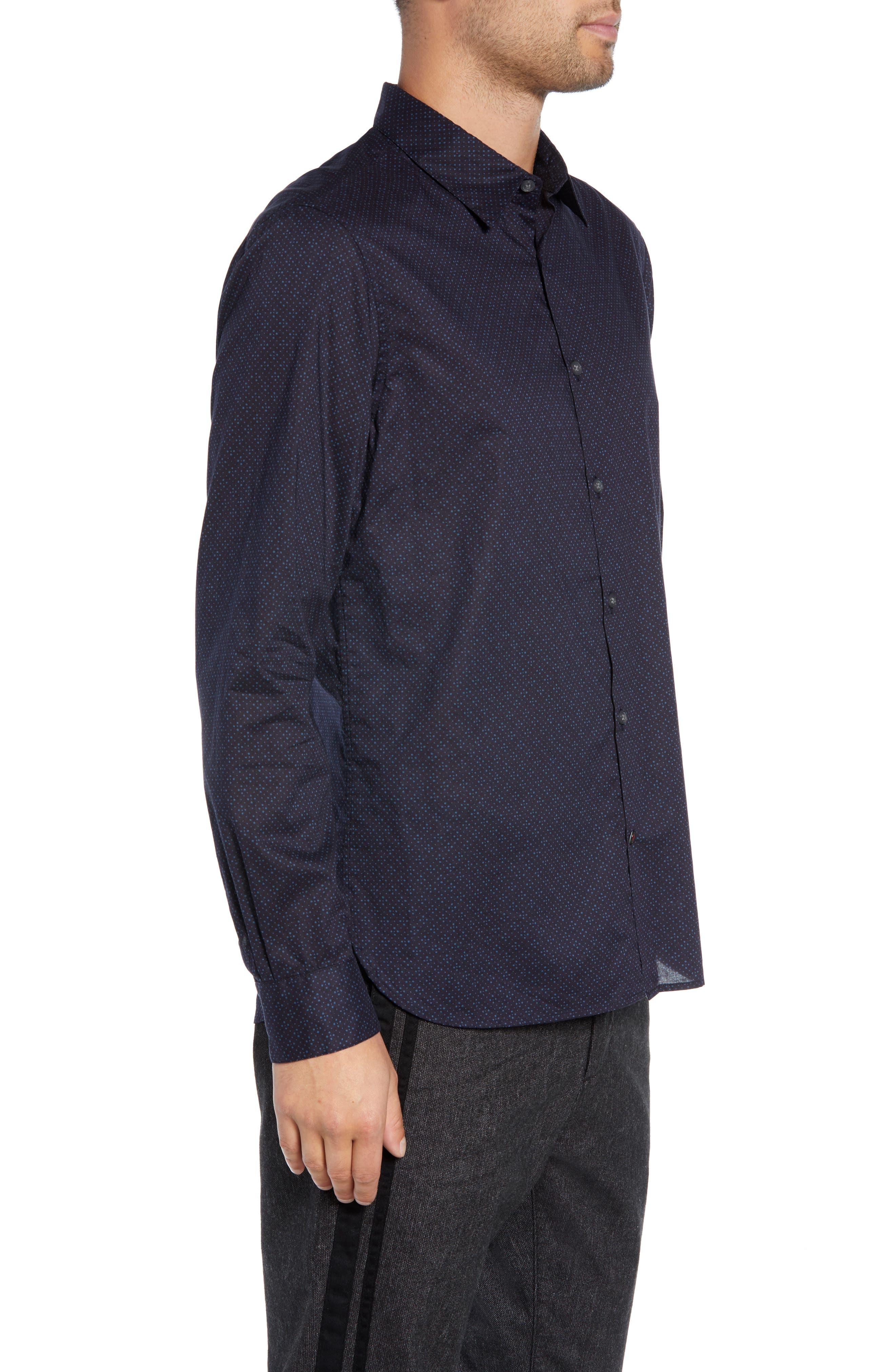 Diamond Print Sport Shirt,                             Alternate thumbnail 4, color,                             RAIN BLUE